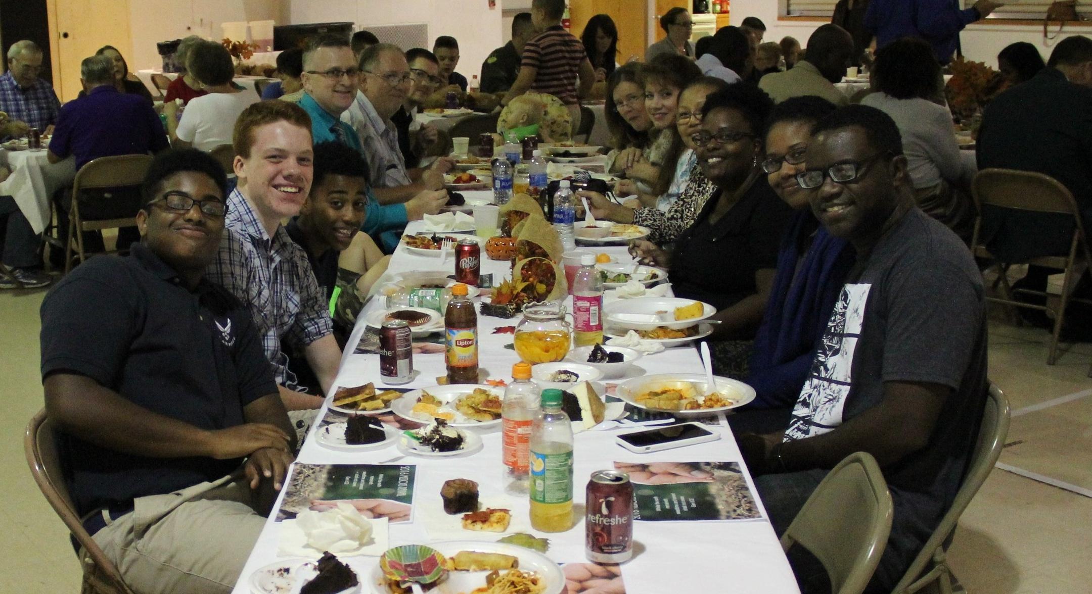 Enjoying dinner at the church..JPG