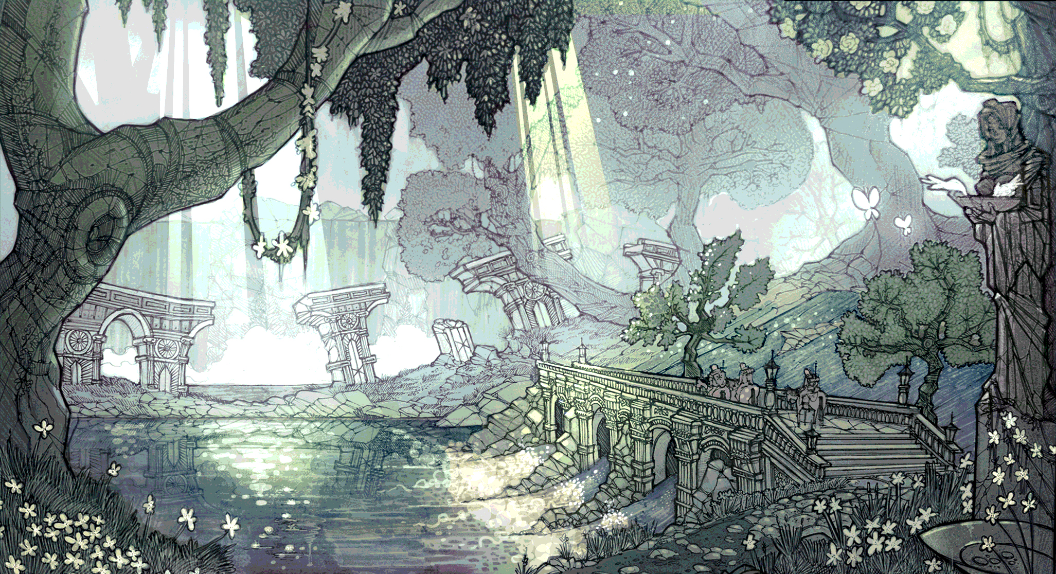 Illustration of a beautiful spring forest, part of a personal project.