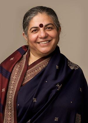 Vandana Shiva, warm yet serious