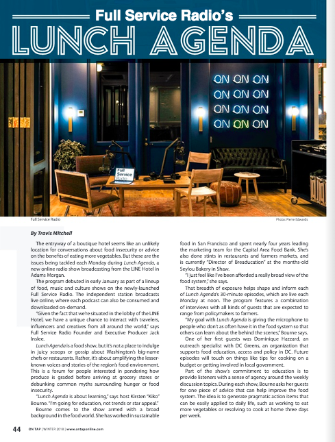Read  On Tap Magazine's  Winter 2018 article on Lunch Agenda