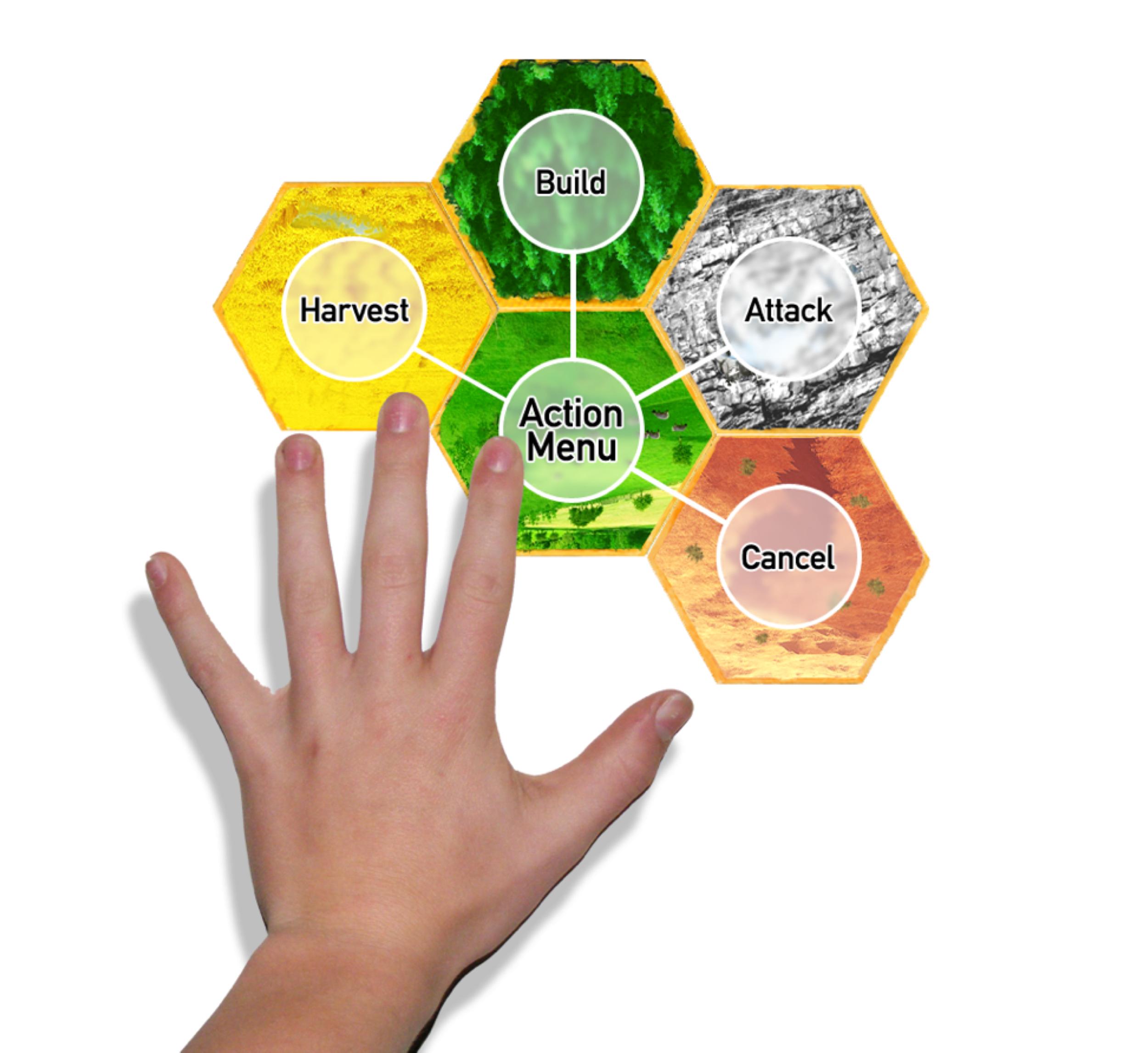 electronic board game (2008-2009): multi-tile pie menu