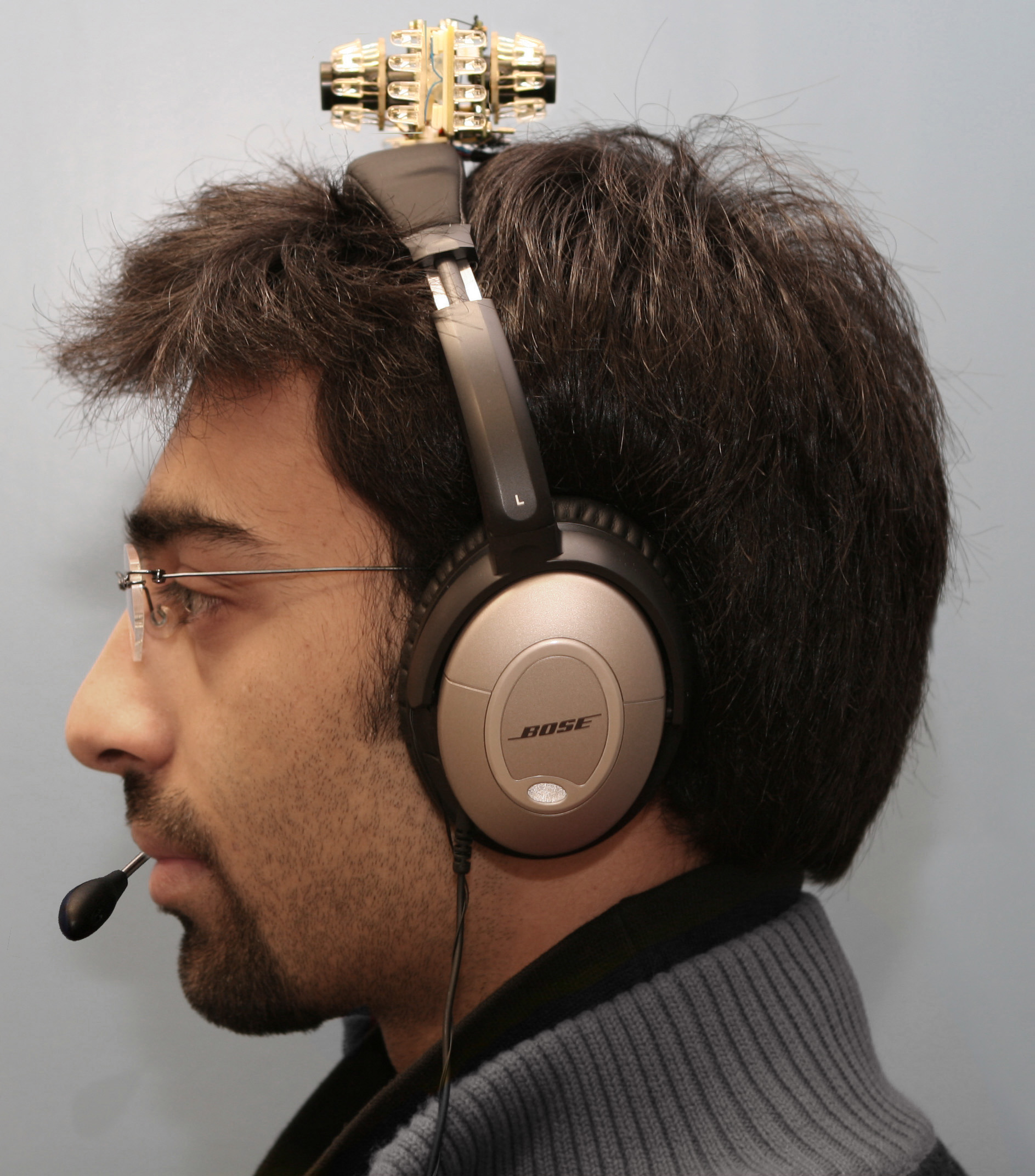 attentive headphones (2004) convey external sound upon eye contact