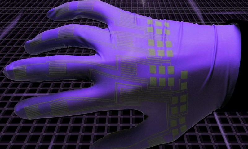 Artistic rendering of flexible circuitry. Credit: Alex Bottiglio/Purdue University