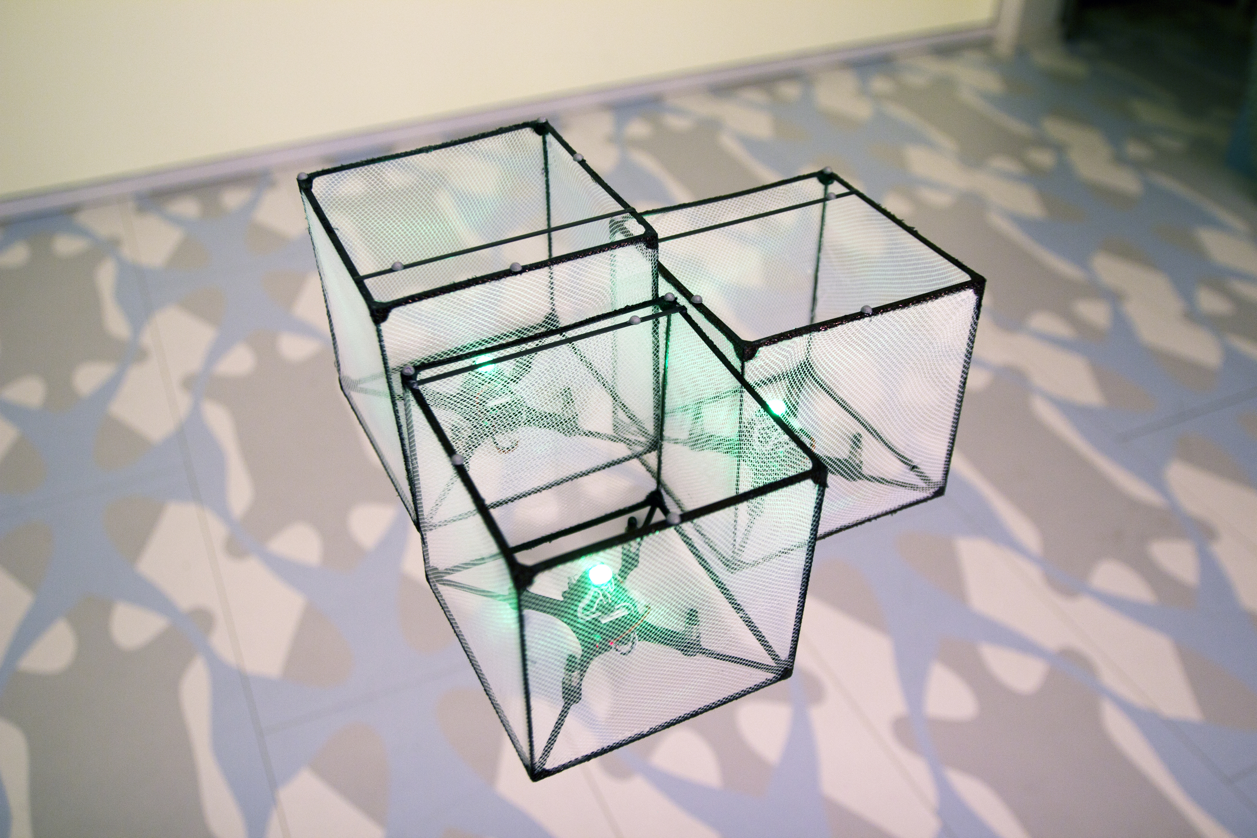 BitDrones (2015): ShapeDrones hover together to form a structure.
