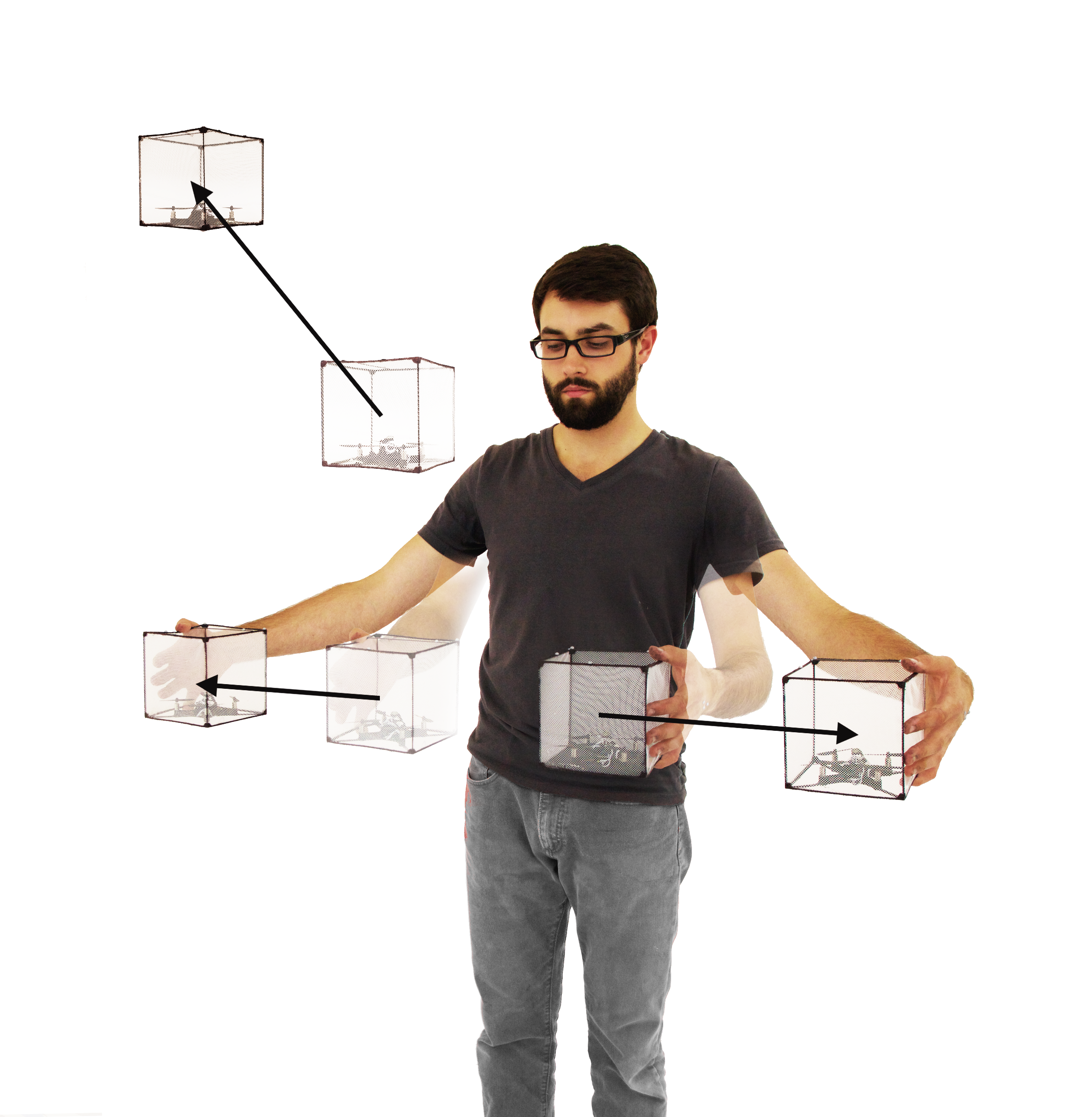 BitDrones (2015): Resizing a group of ShapeDrones with a Pinch gesture.