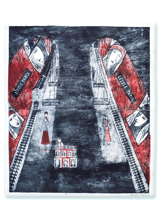 Etching by Mitsushige Nishiwaki, Metro: Red, 20.5'' x 17.5''