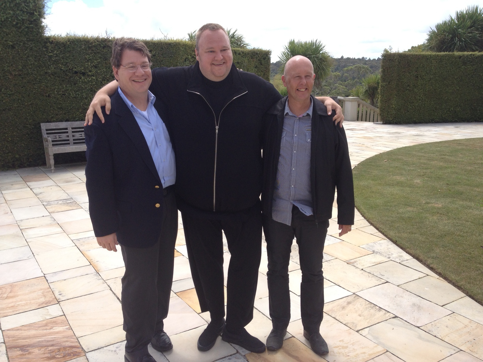 Ira P. Rothken, Kim Dotcom, and Rick Shera in Coatesville, New Zealand January 2013
