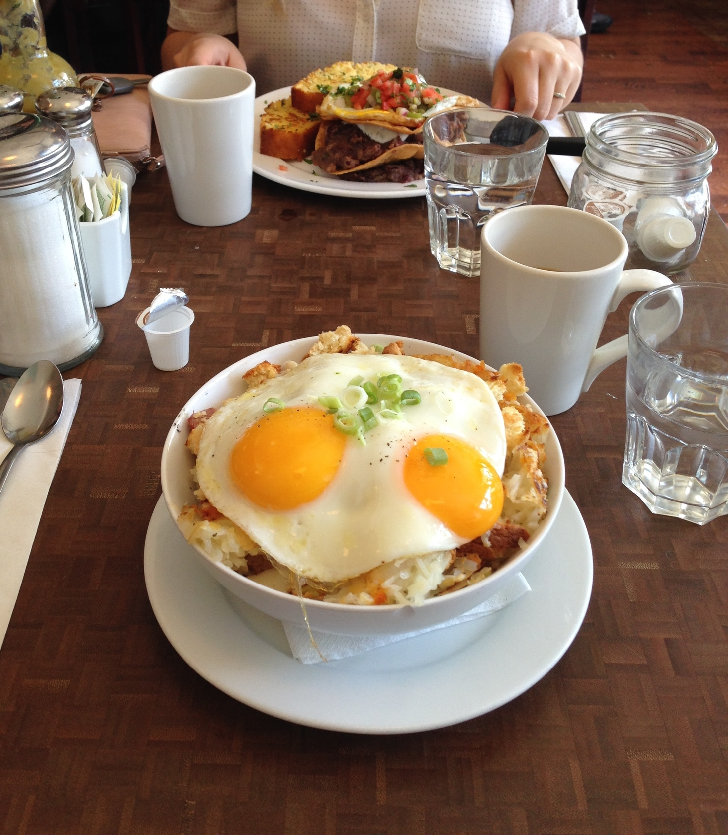 The Charlie Bowl for me, the vegetarian Huevos Rancheros for Carly