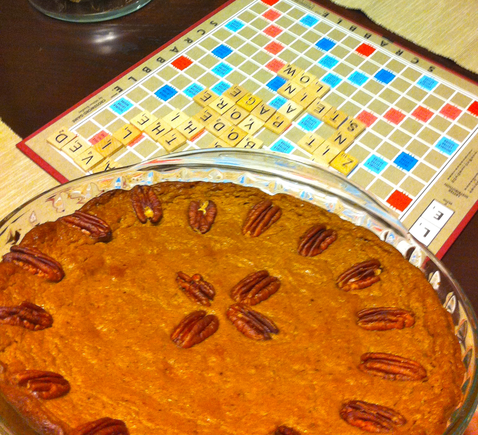 Circa Thanksgiving 2013...pie...best enjoyed with Scrabble