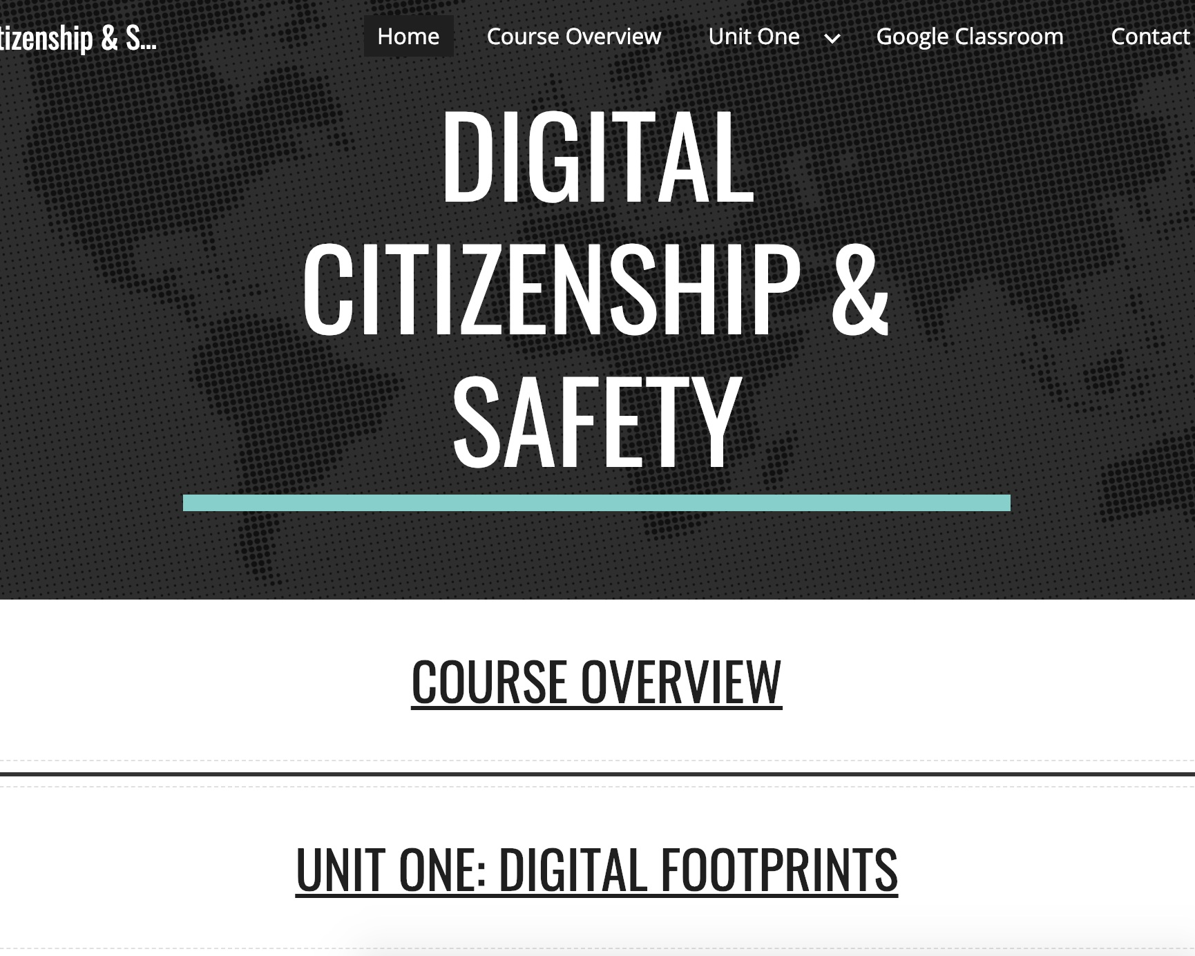 online course: Digital Citizenship & Safety - This online course module was developed using Google Sites and Google Classroom on the topic of Digital Citizenship and Safety. It showcases evidence of effective UX design (user experience), unit and lesson development, integration of multimedia learning theory, and content creation. This work demonstrates my ability to utilize multimodal content to design effective lessons that align to a wealth of educational standards and learning theories.