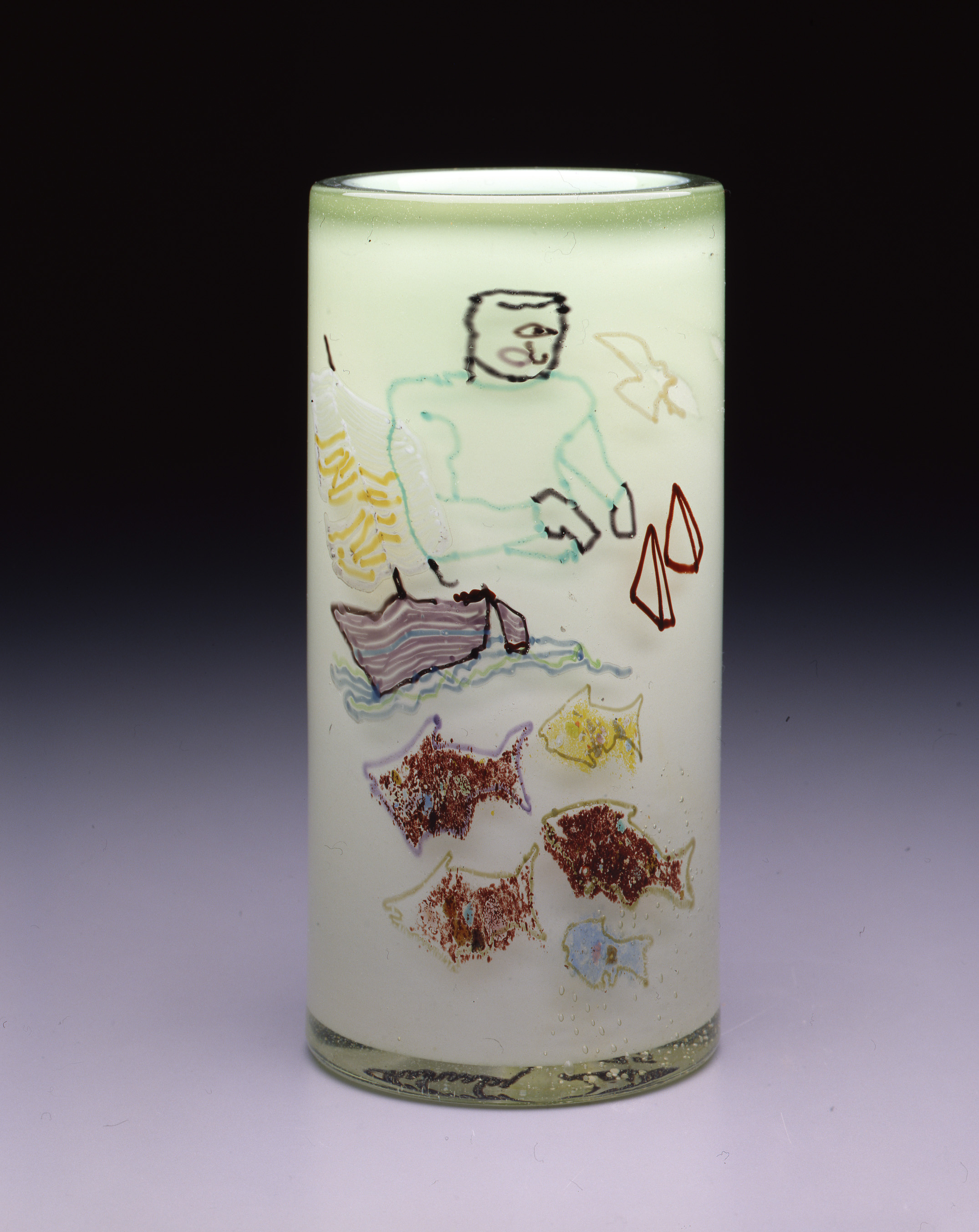 Dale Chihuly,  Irish Cylinder #16   (1975, glass, 9 1/2 x 4 1/2 inches), DC.278