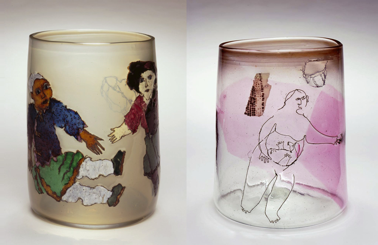 Joey Kirkpatrick and Flora C. Mace, (left)  Rebecca And The Chinese Dol l (1981, glass, 9 1/2 x 7 inches), JK/FM.20 and (right)  Figure With Child  (1980, glass), JK/FM.21