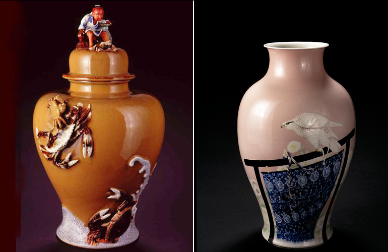 Japanese Meiji works. (left) Sumida Gawa,  Crab Catcher Vase  (c. 1900, ceramic, 18 1/2 x 11 1/4 x 10 1/4 inches), MJ.53, and (right) Miyagawa Kozan,  Vase with a Tethered Hawk  (c. 1900, porcelain, 16 3/4 x 10 x 10 inches), MJ.47