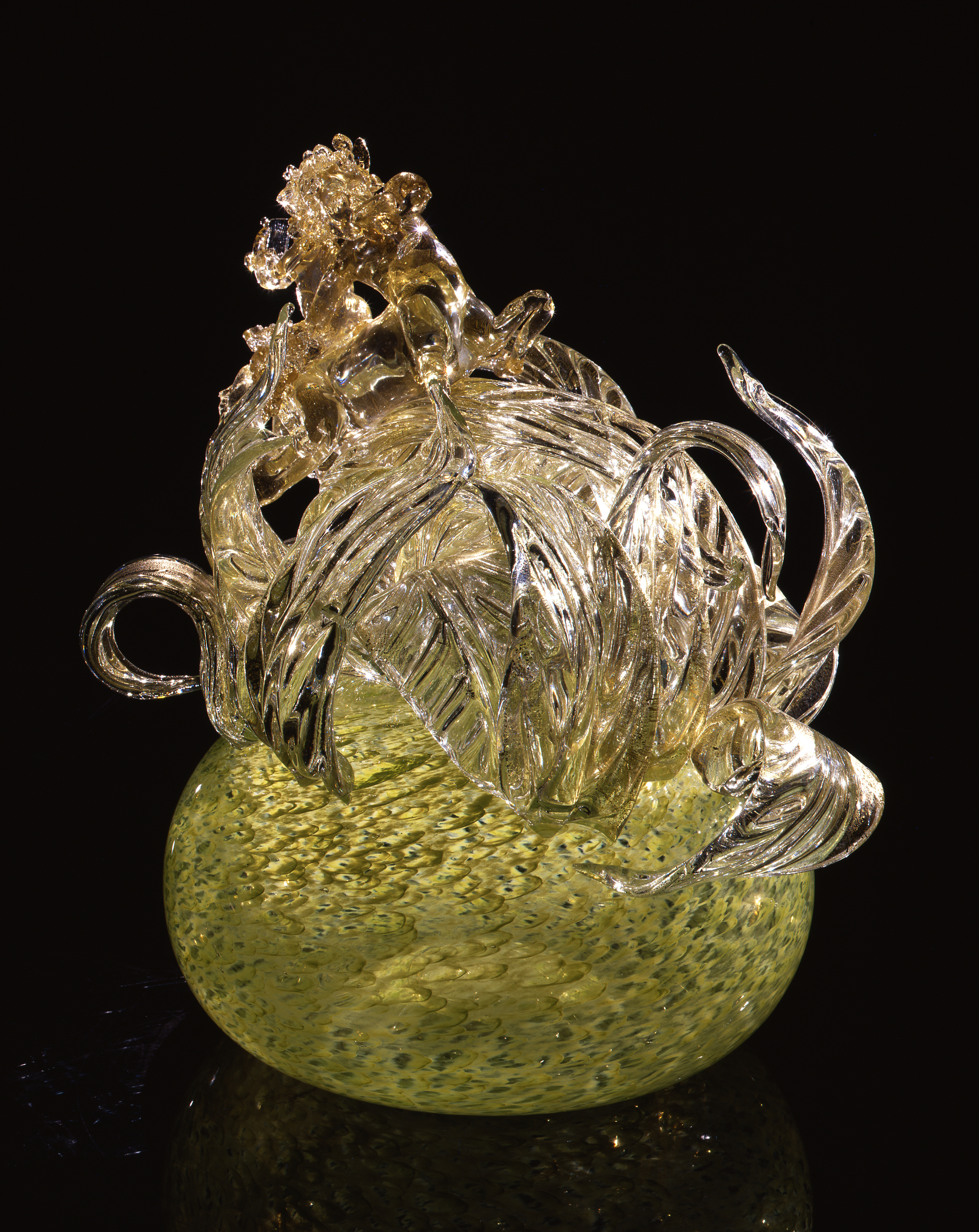 Dale Chihuly,  Fountain Green Putti Venetian with Gilt Leaves and Centaur  (1993, glass, 18 x 16 x 17 inches)