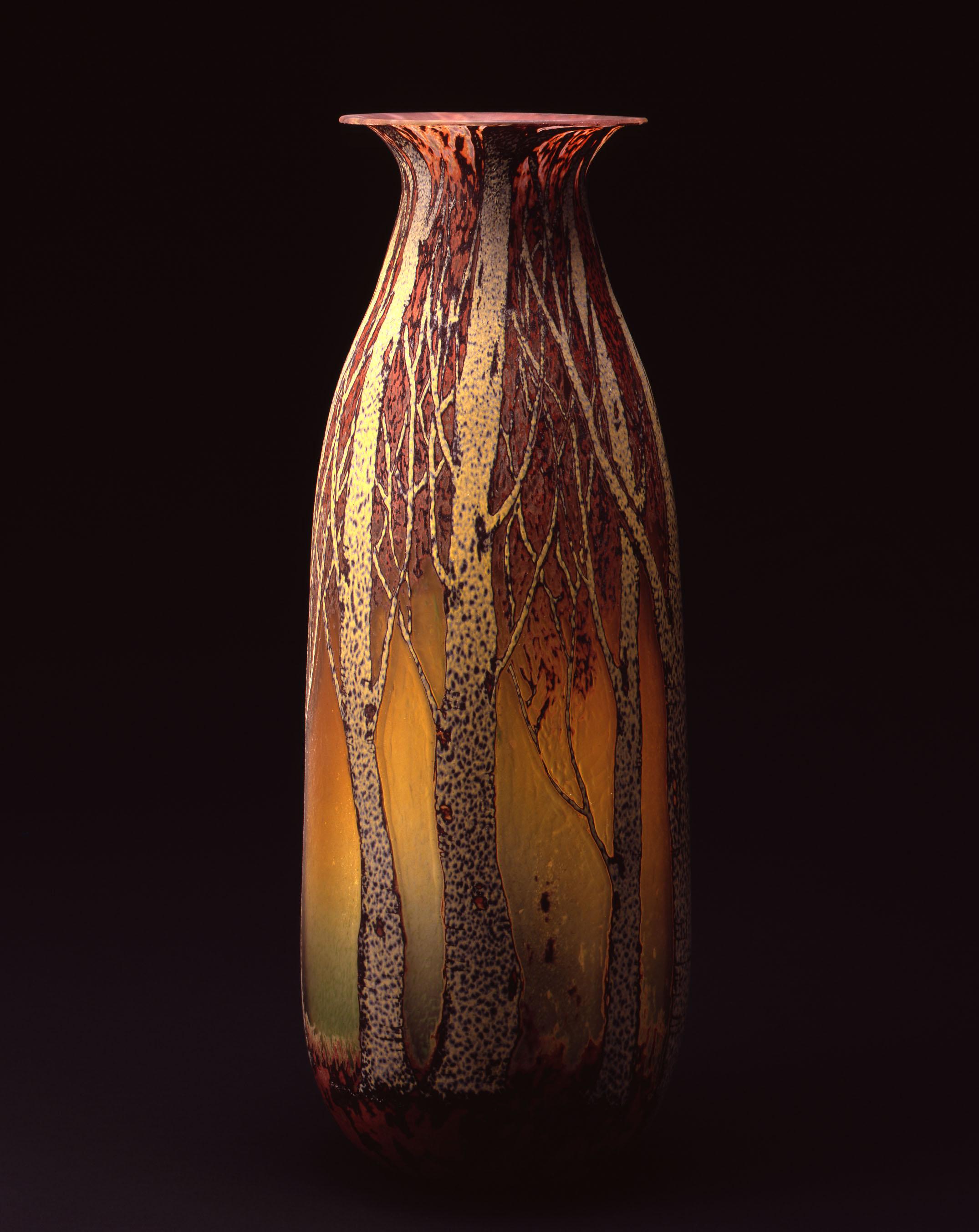 William Morris, Vase with Aspen Tree Grove   (2004, glass,26 1/2 x 10 x 10 inches), WM.32