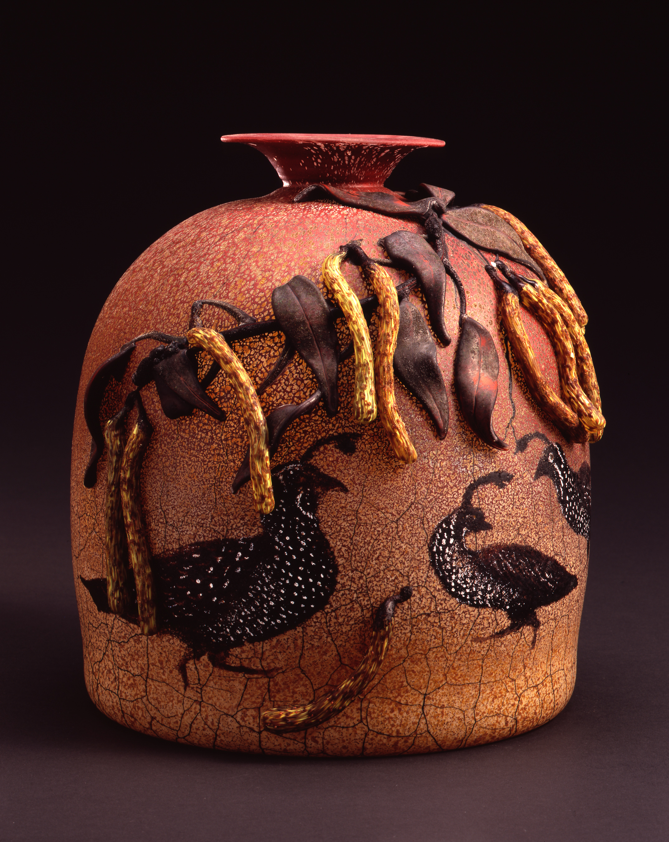William Morris, Vessel with California Quail and Locust Pods   (2004, glass, 10 5/8 x 10 1/2 x 9 1/2 inches), WM.38