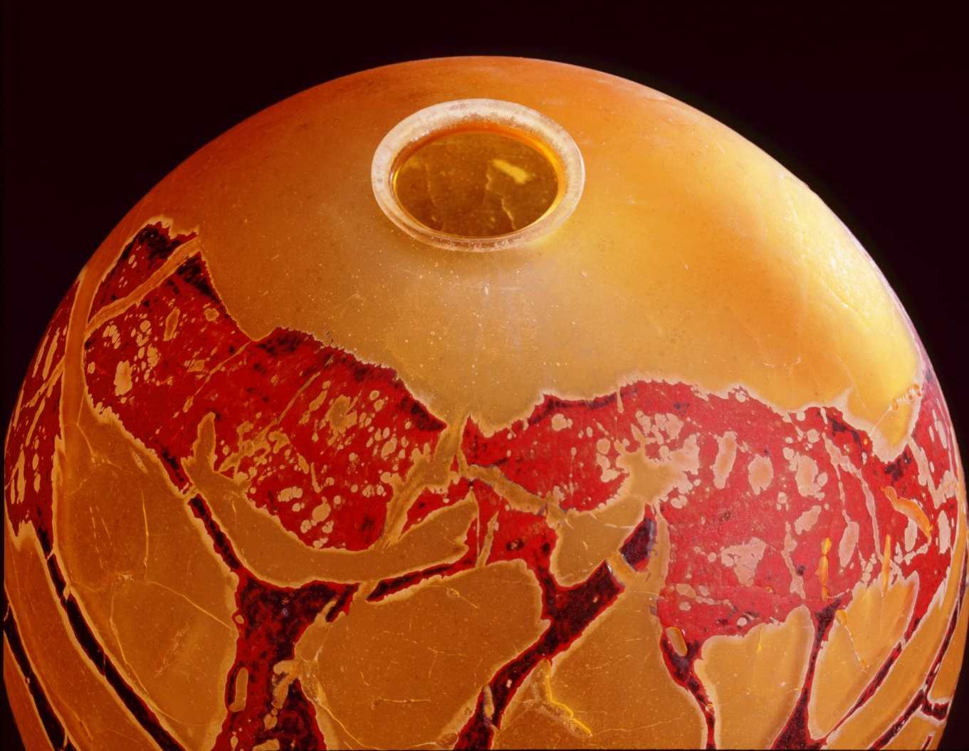 Detail - William Morris, Globe Vessel with Juniper Tree Form (2004, glass, 11 1/8 x 9 3/4 x 9 3/4 inches), WM.22