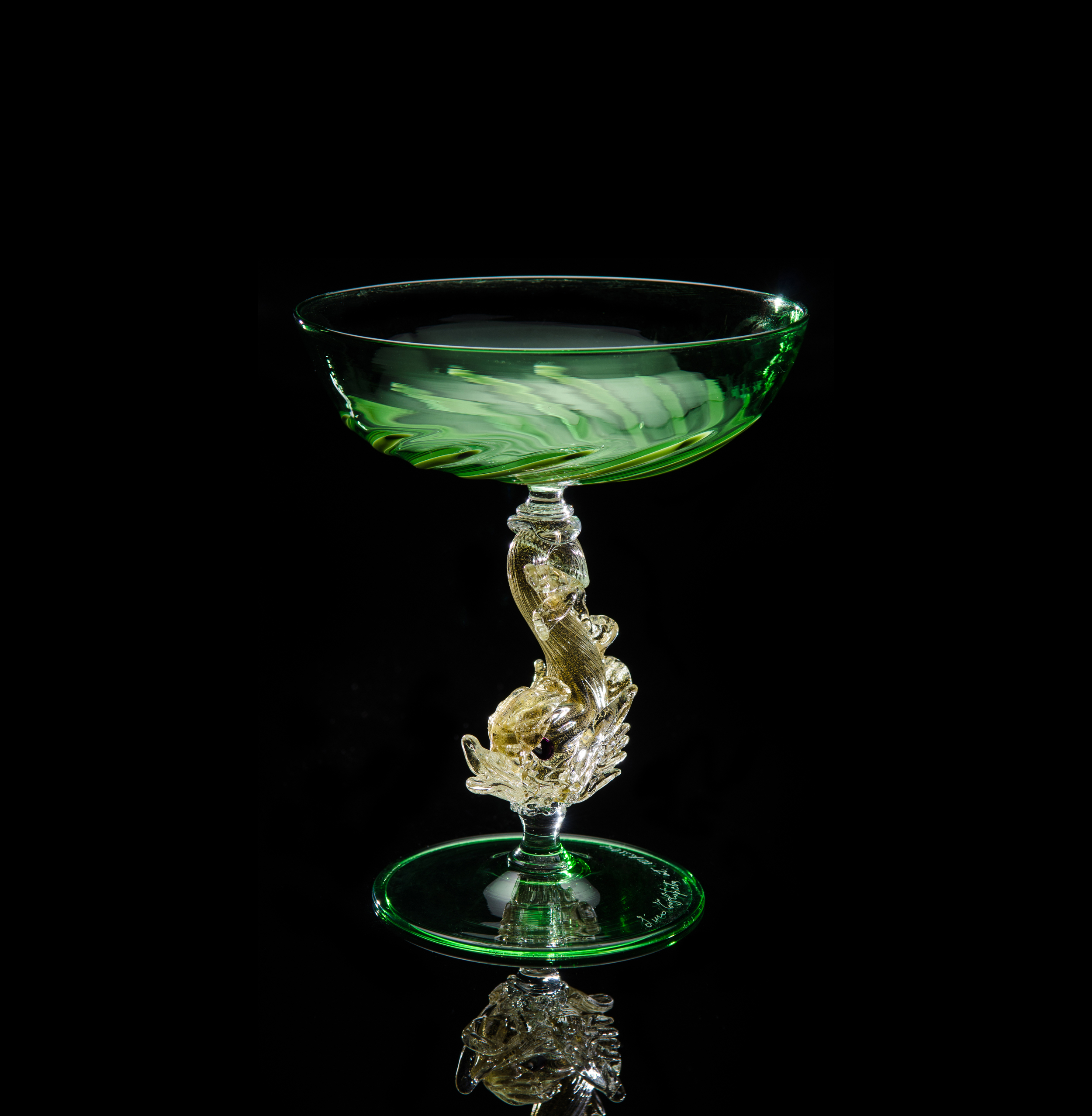 Lino Tagliapietra,  Goblet  (1991-1994, glass and gold leaf, 6 x 5 1/16 x 5 1/16 inches), LT.4