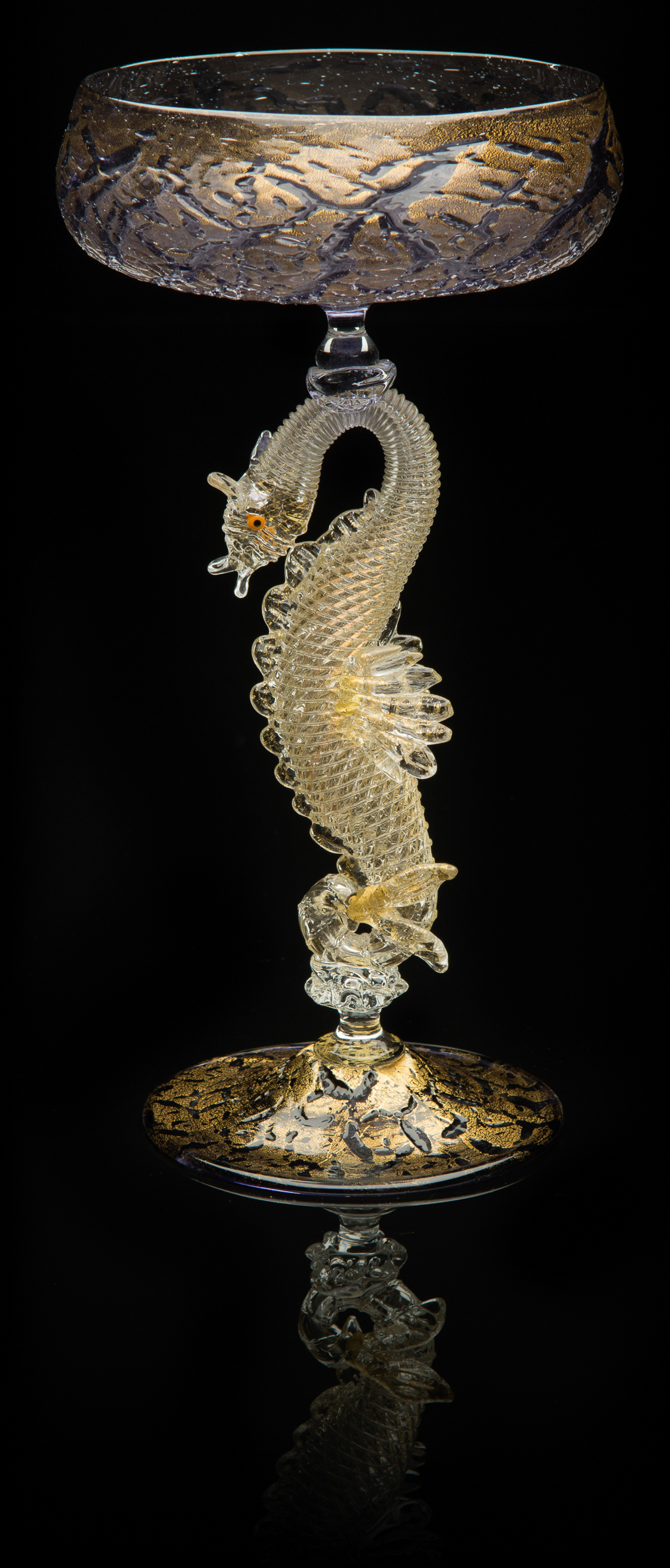 Lino Tagliapietra,  Dragon-stem   Goblet  (1991-1994, glass and gold leaf, 8 3/4 x 4 9/16 x 4 9/16 inches), LT.30