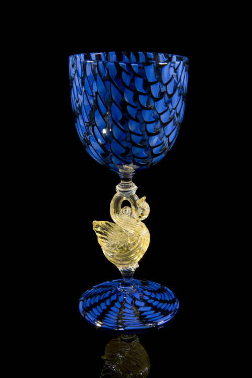Lino Tagliapietra,  Goblet  (1991-1994, glass and gold leaf, 8 3/8 x 3 11/16 x 3 11/16 inches), LT.55