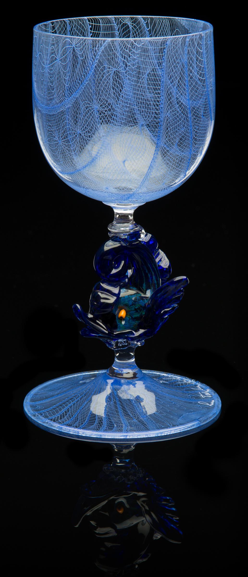 Lino Tagliapietra, Dolphin-stem  Goblet (1991-1994, glass, 6 1/2 x 3 1/2 x 3 1/2inches), LT.63