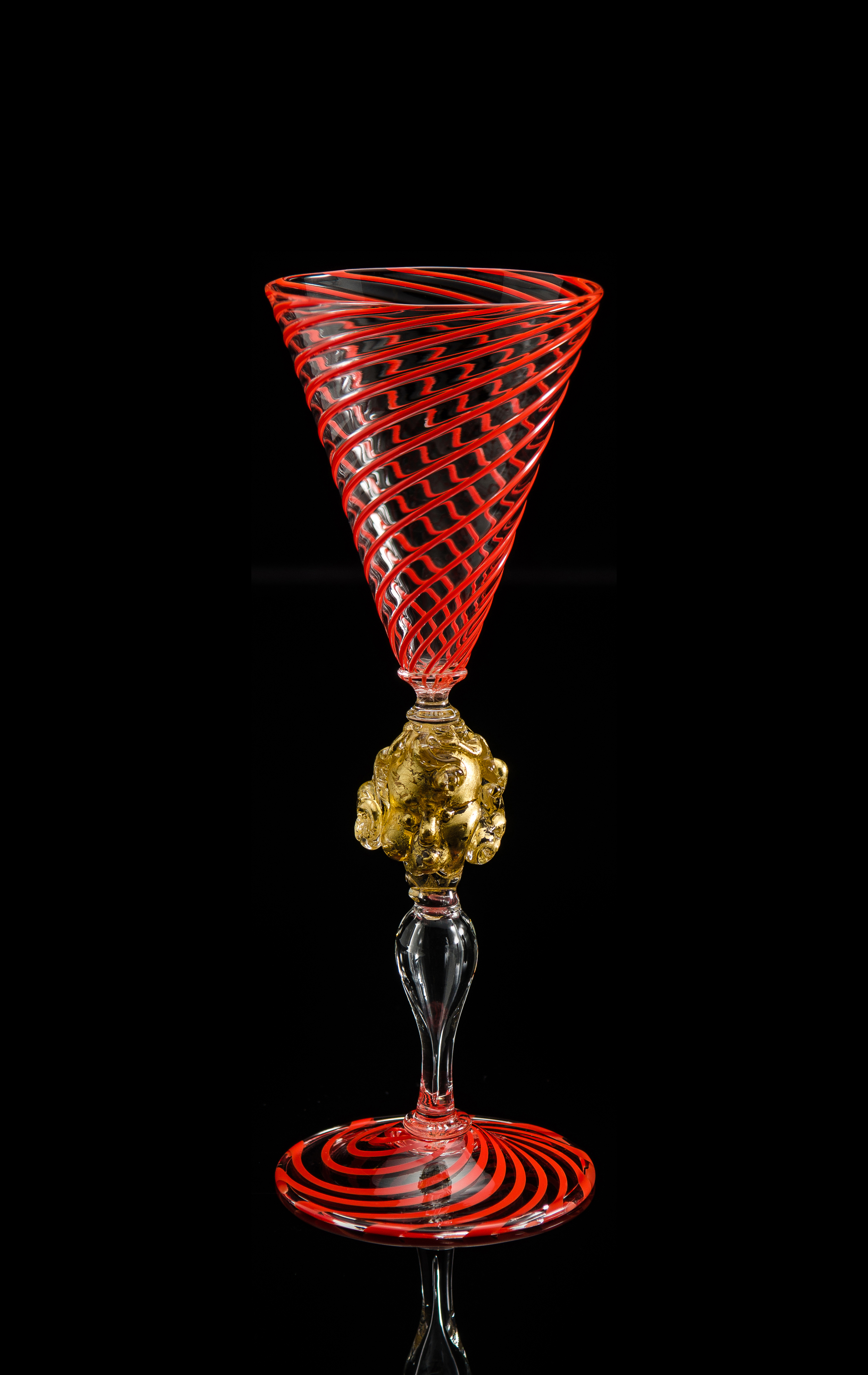Lino Tagliapietra,  Goblet  (1991-1994, glass and gold leaf, 9 1/4 x 3 1/4 x 3 1/4 inches), LT.81