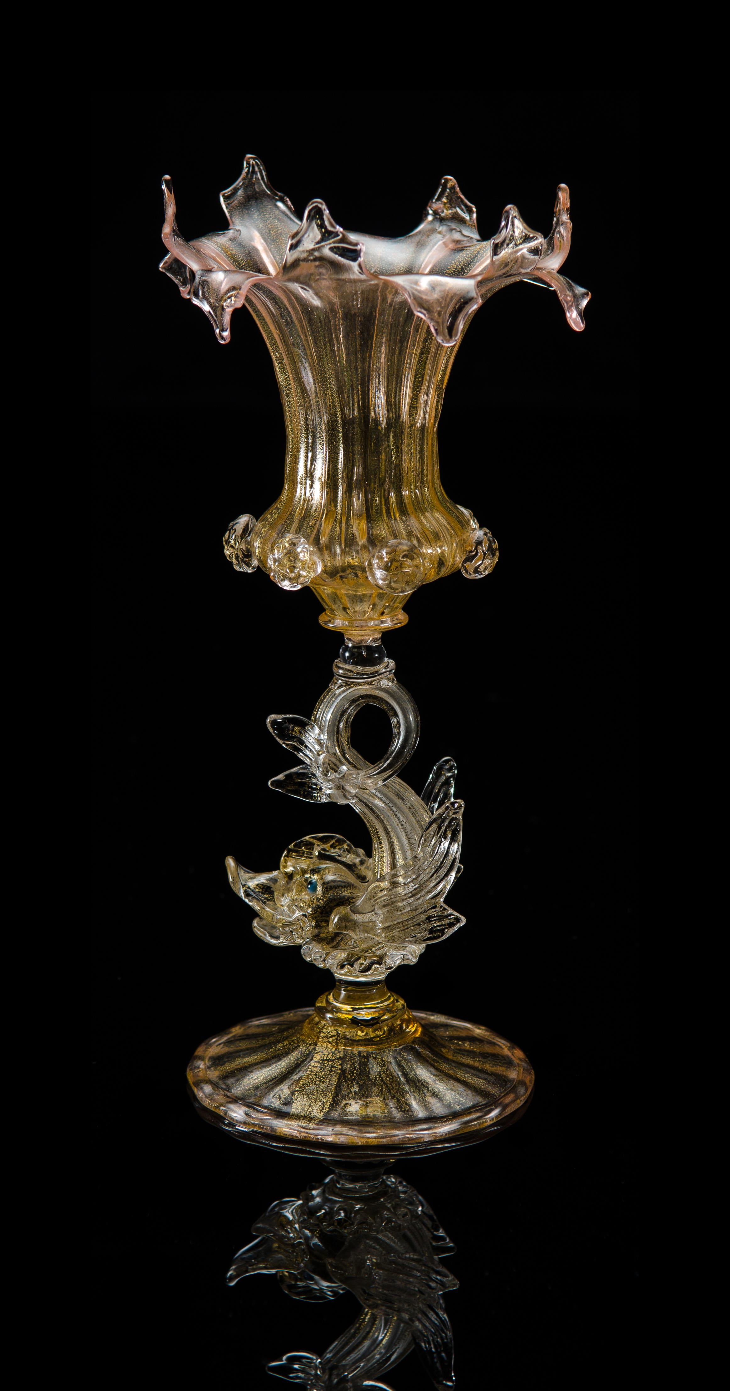 Salviati and Company, Vase with Dolphin Stem (circa 1898, glass), VV.12