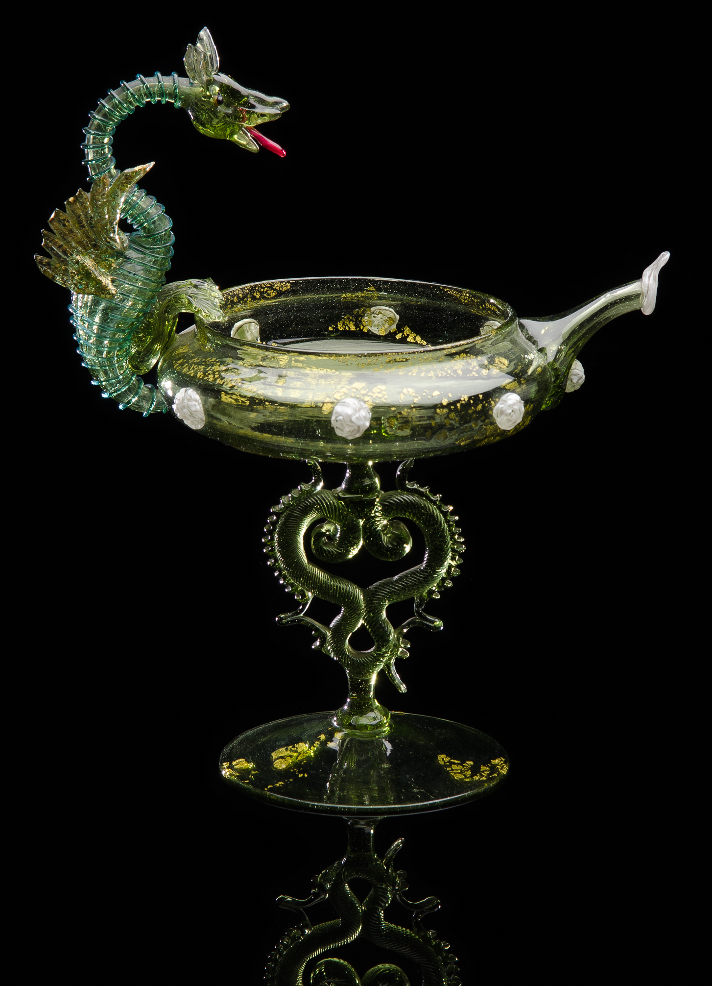 Salviati and Company, Green Dragon Ewer with White Prunts and Winged Stem (glass), VV.220