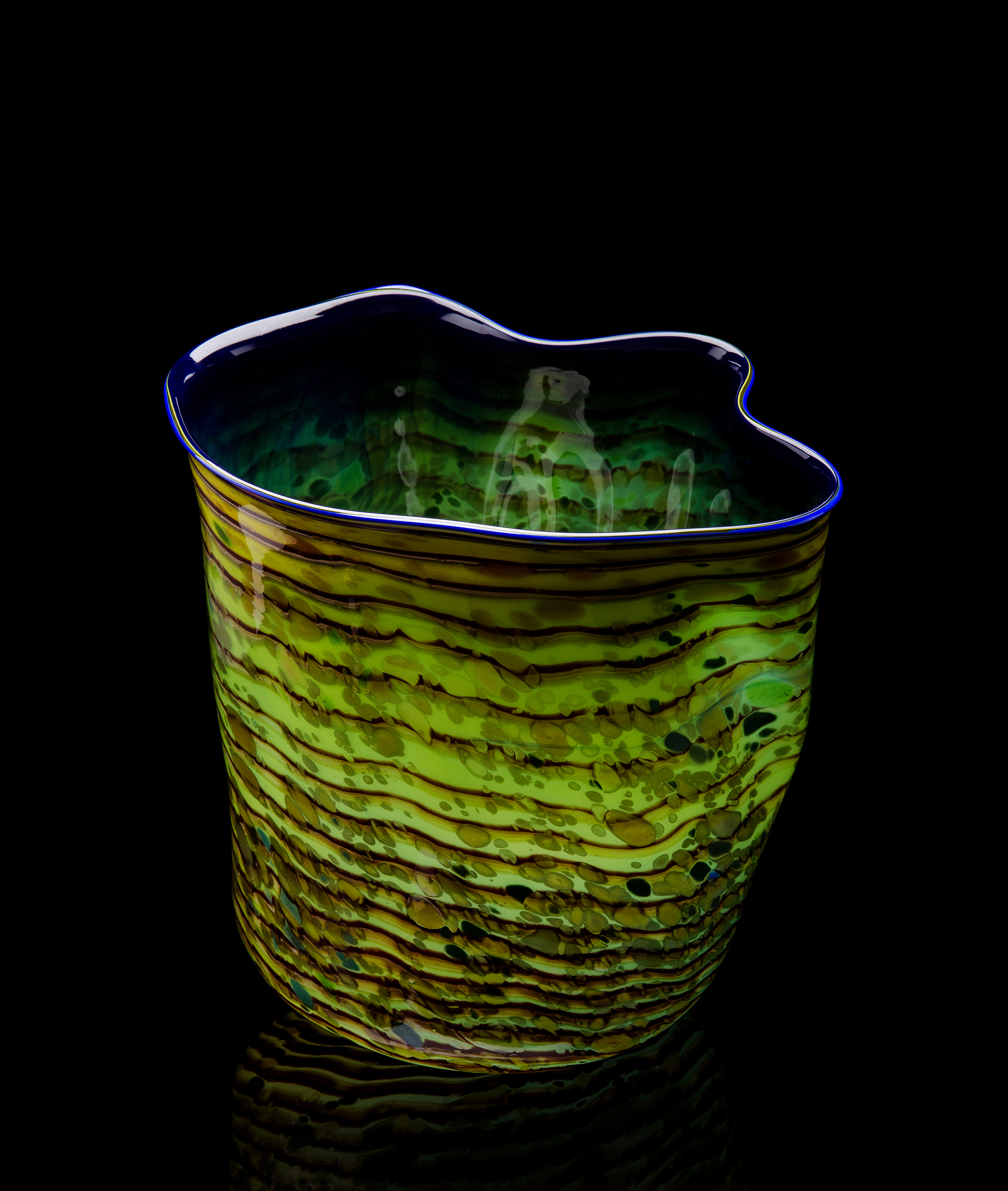Dale Chihuly,  Yellow Green Macchia with Cerulean Lip Wrap   (1983, glass, 15 x 14 x 13 inches), DC.79