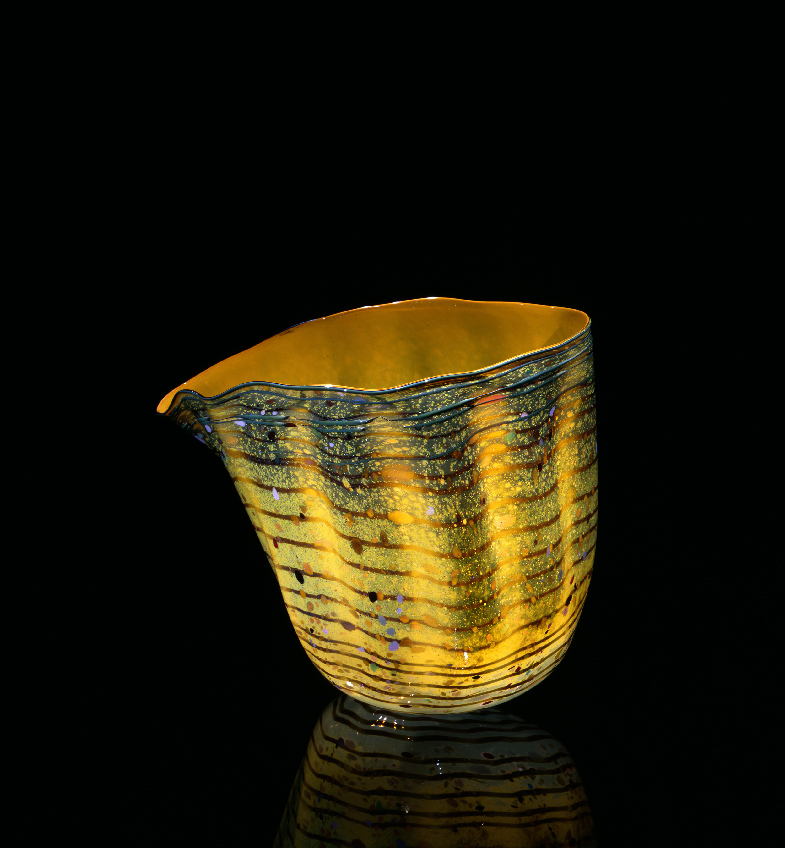 Dale Chihuly,  Marigold Macchia with Canton Jade Lip Wrap   (1982, glass, 12 x 13 x 9inches), DC.121