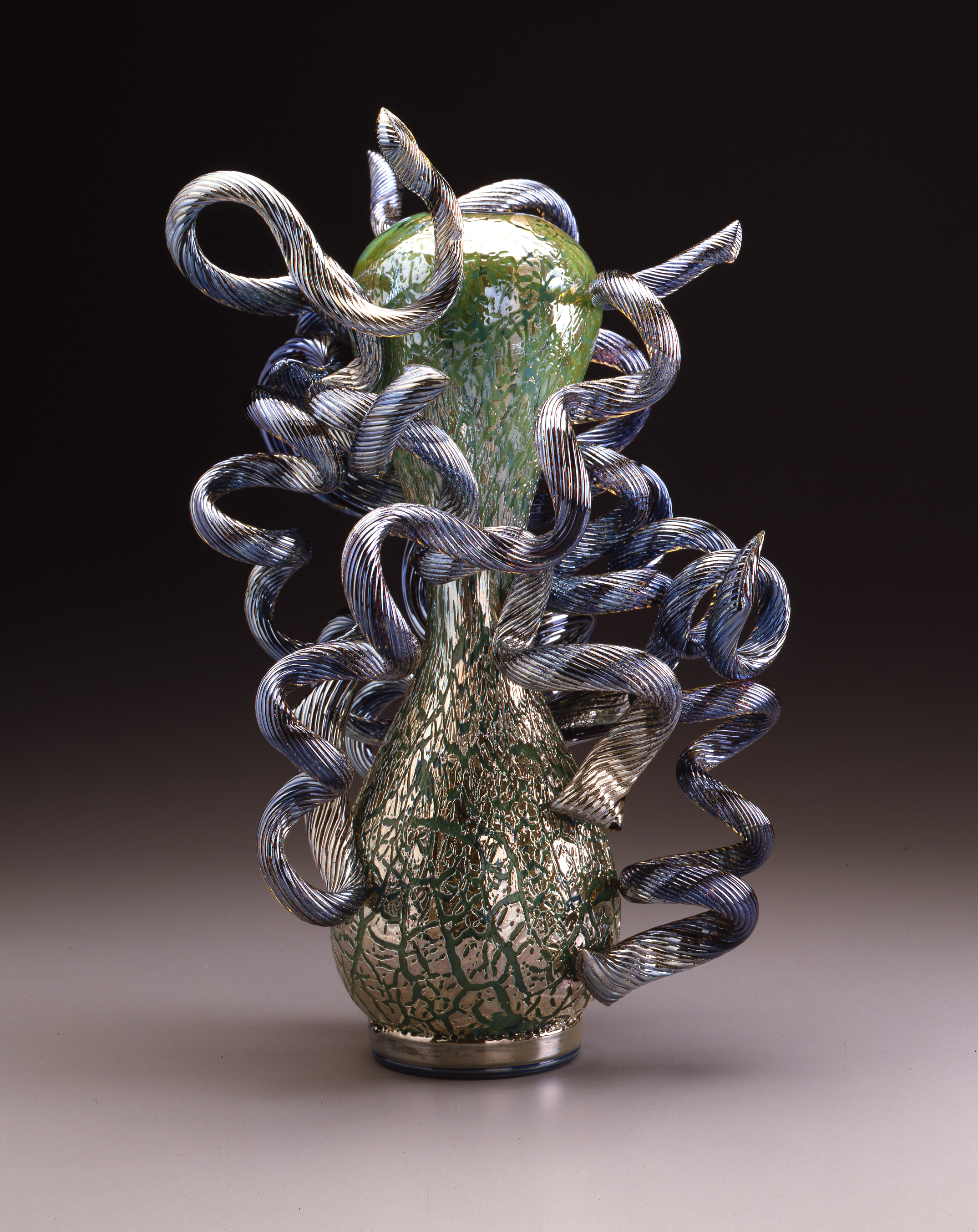 Dale Chihuly,  Olive Green Venetian with Blue Coils  (1989, glass, 22 x 13 x 11 inches)