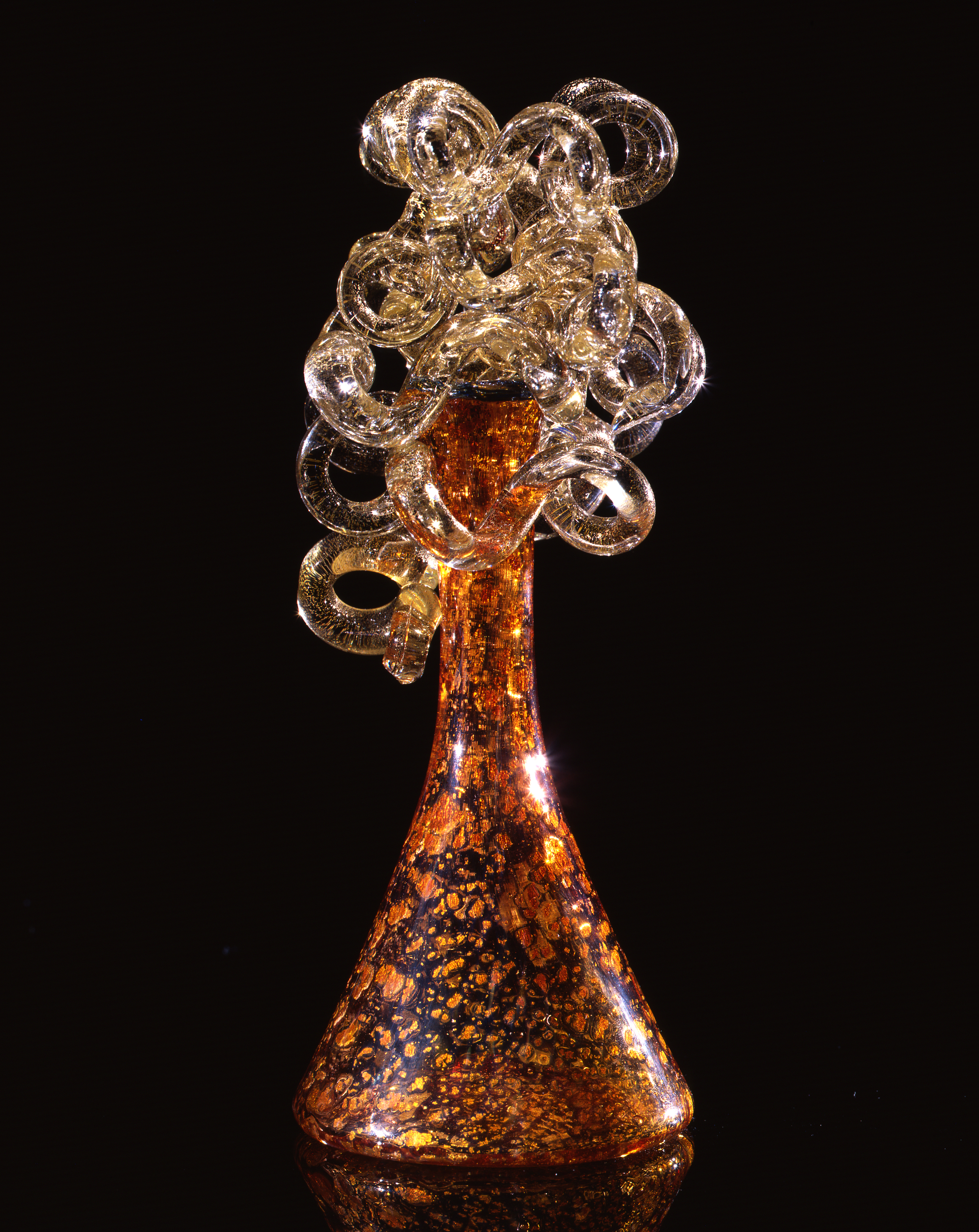 Dale Chihuly,  Copper Sienna Piccolo Venetian with Translucent Coils  (1990, glass, 17 x 17 x 18 inches)