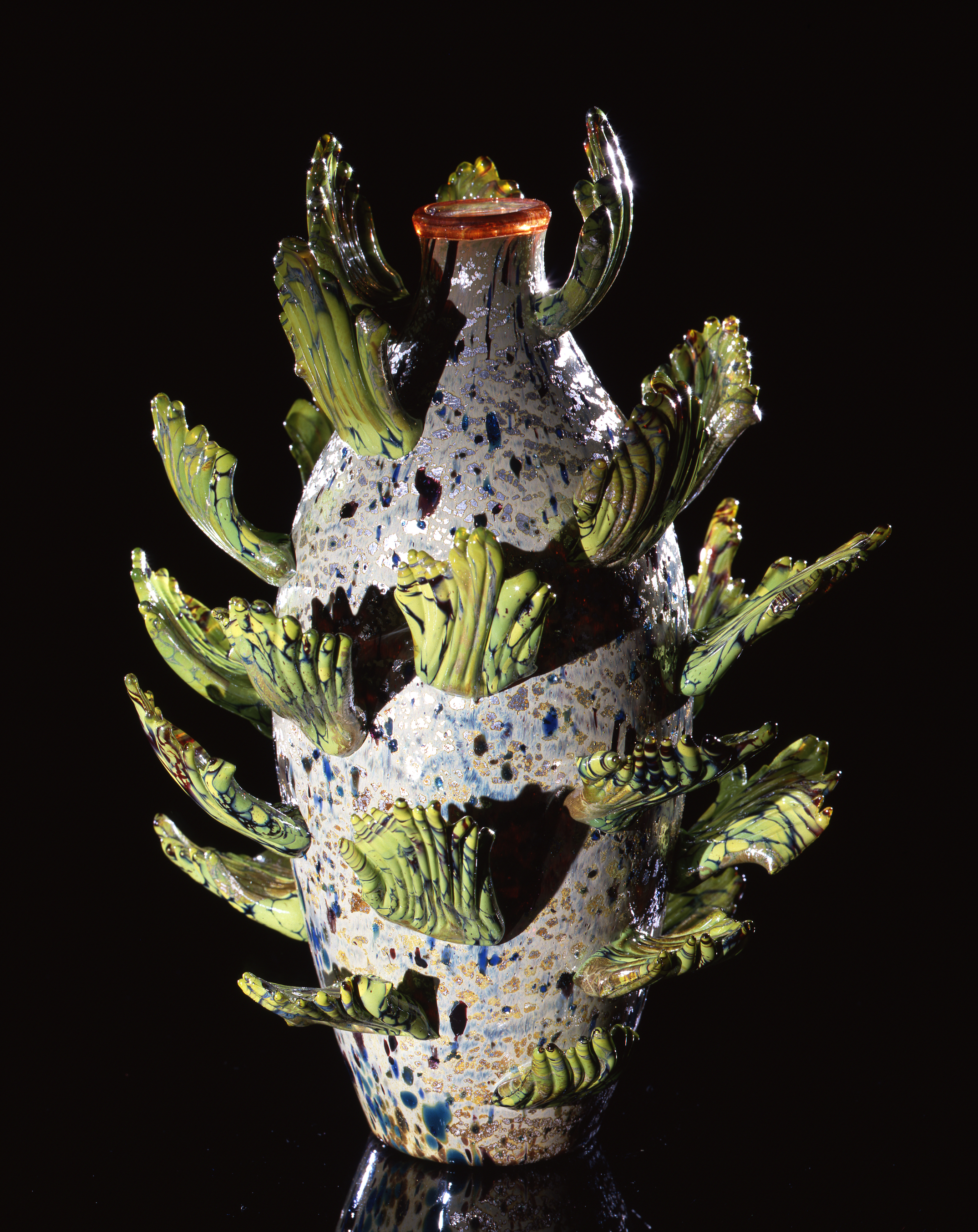 Dale Chihuly,  Silver Piccolo Venetian with Chartreuse Leaves  (1993, glass, 9 x 7 x 7 inches)