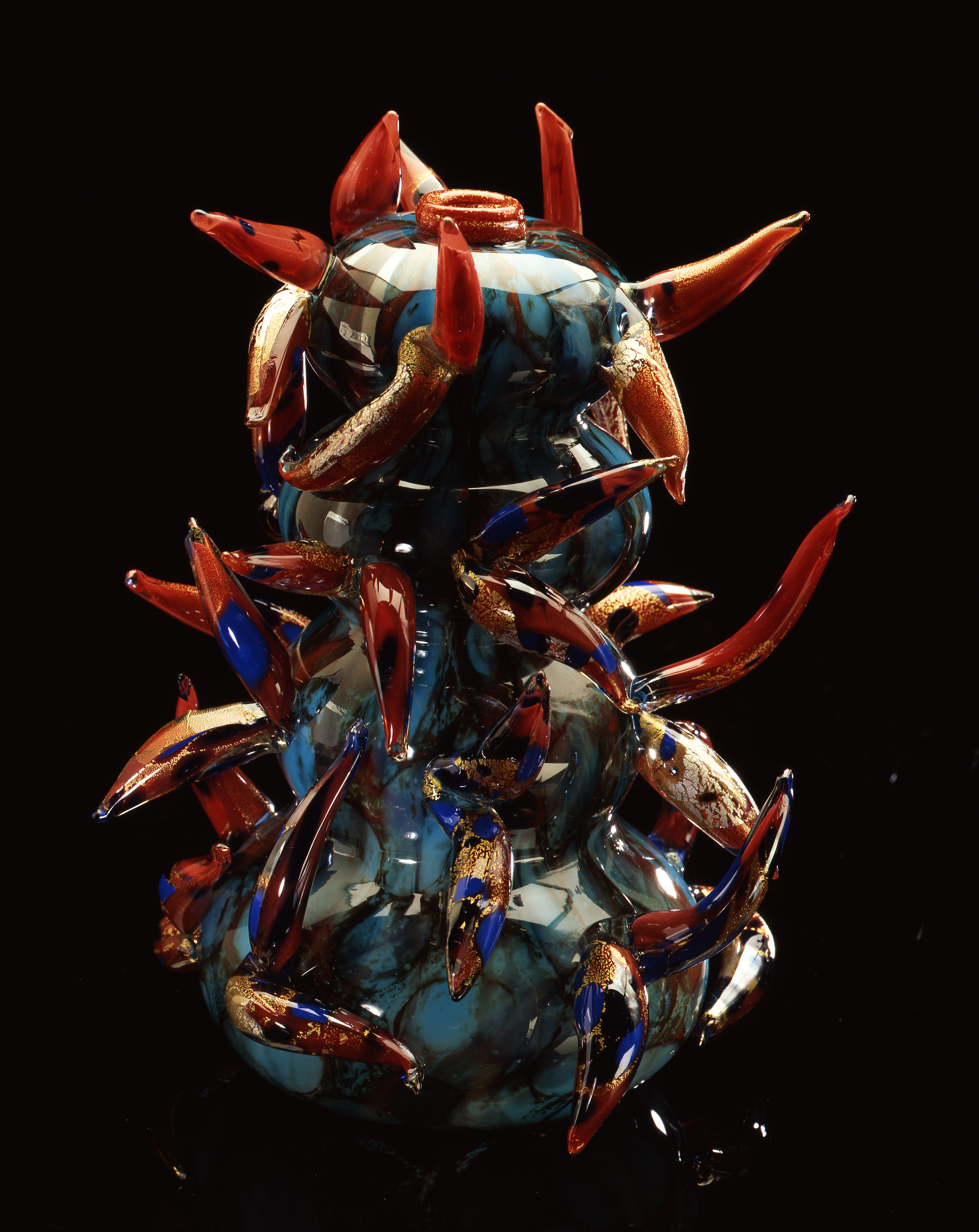 Dale Chihuly,  Cerulean Blue Piccolo Venetian with Red Prunts  (1994, glass, 11 x 7 x 7 inches)
