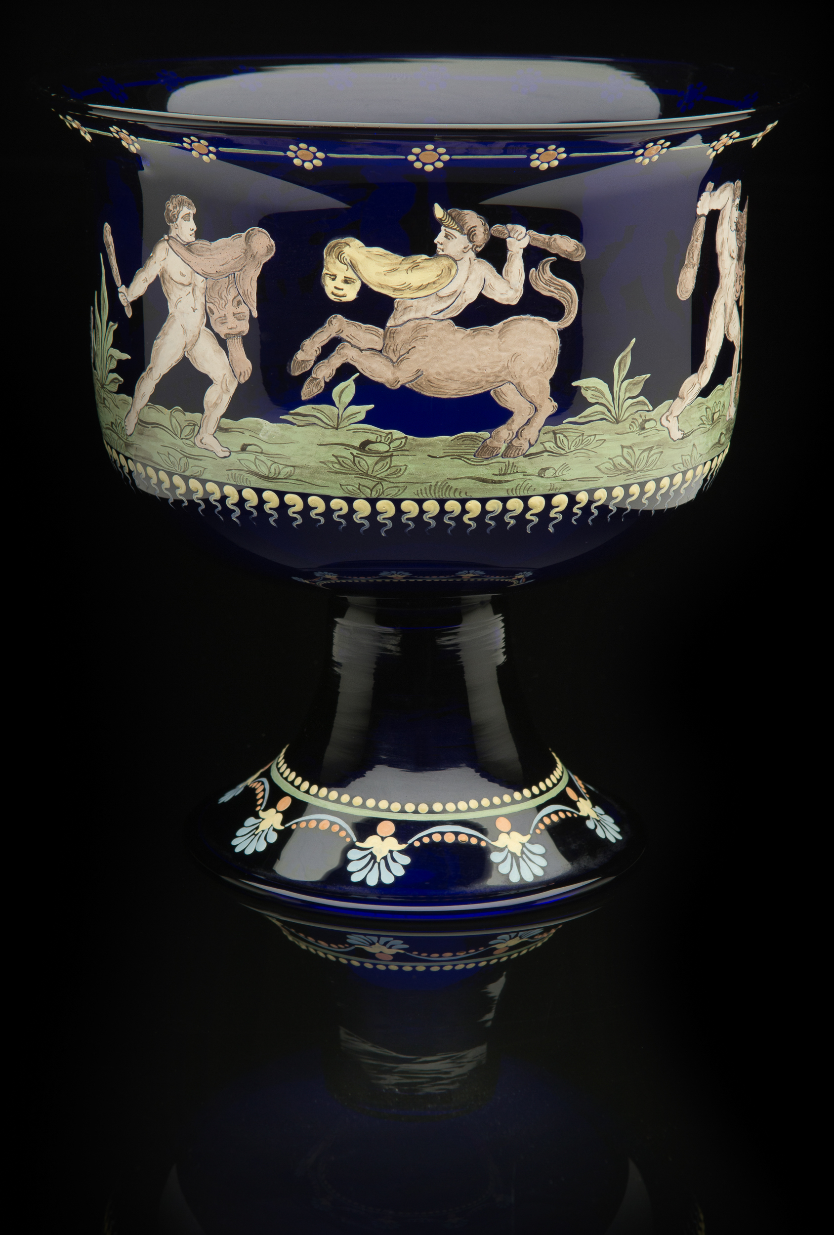 Francisco Toso Borella, Vase: Labors of Hercules (1900-1920, glass and enamel, 8 x 7 1/2 x 7 1/2inches), VV.479