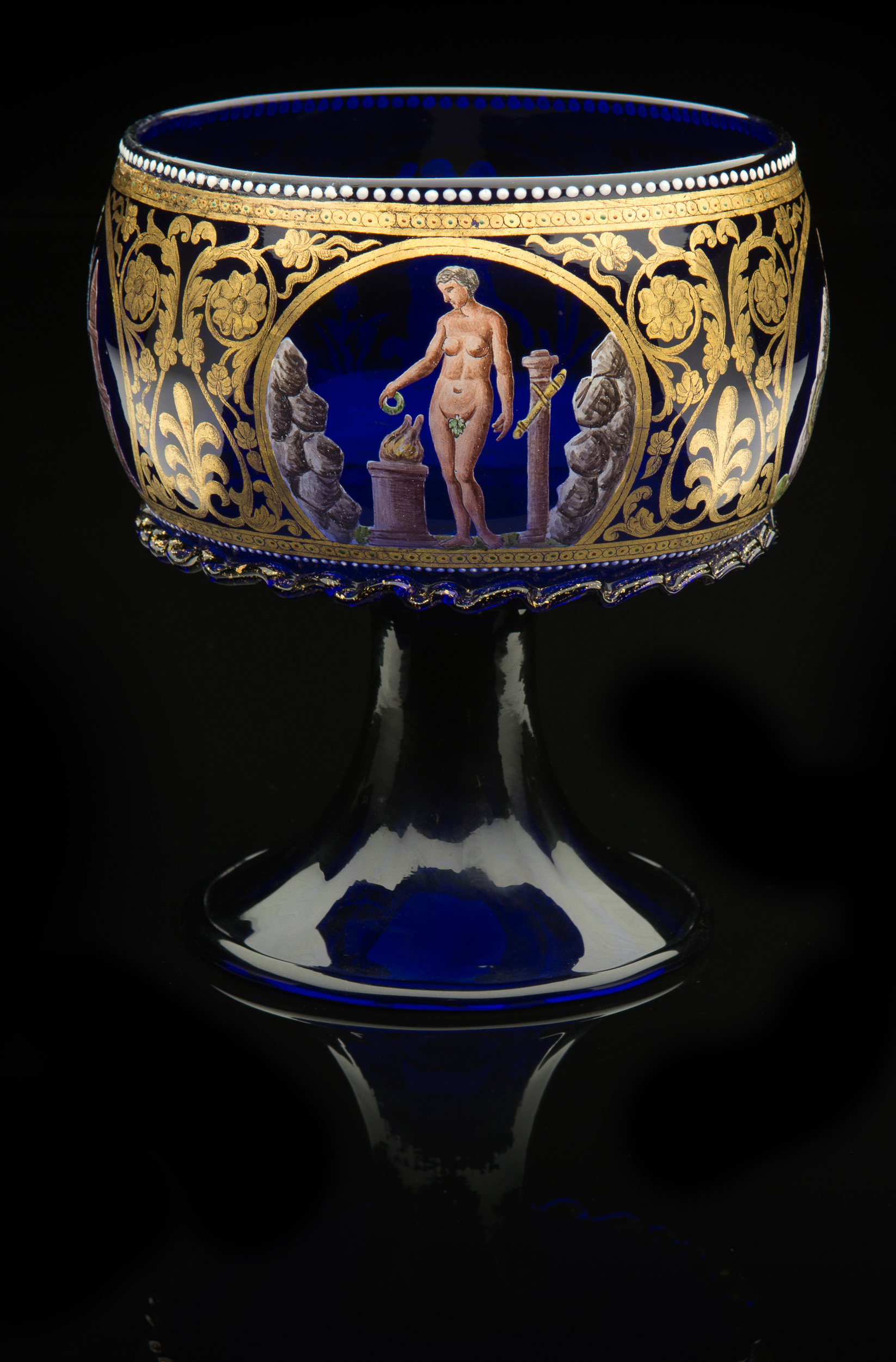 Venice and Murano Company, Hercules Footed Bowl,   (circa 1880, glass, gilding and enamel, 6 1/2 x 5 x 5 inches), VV.573
