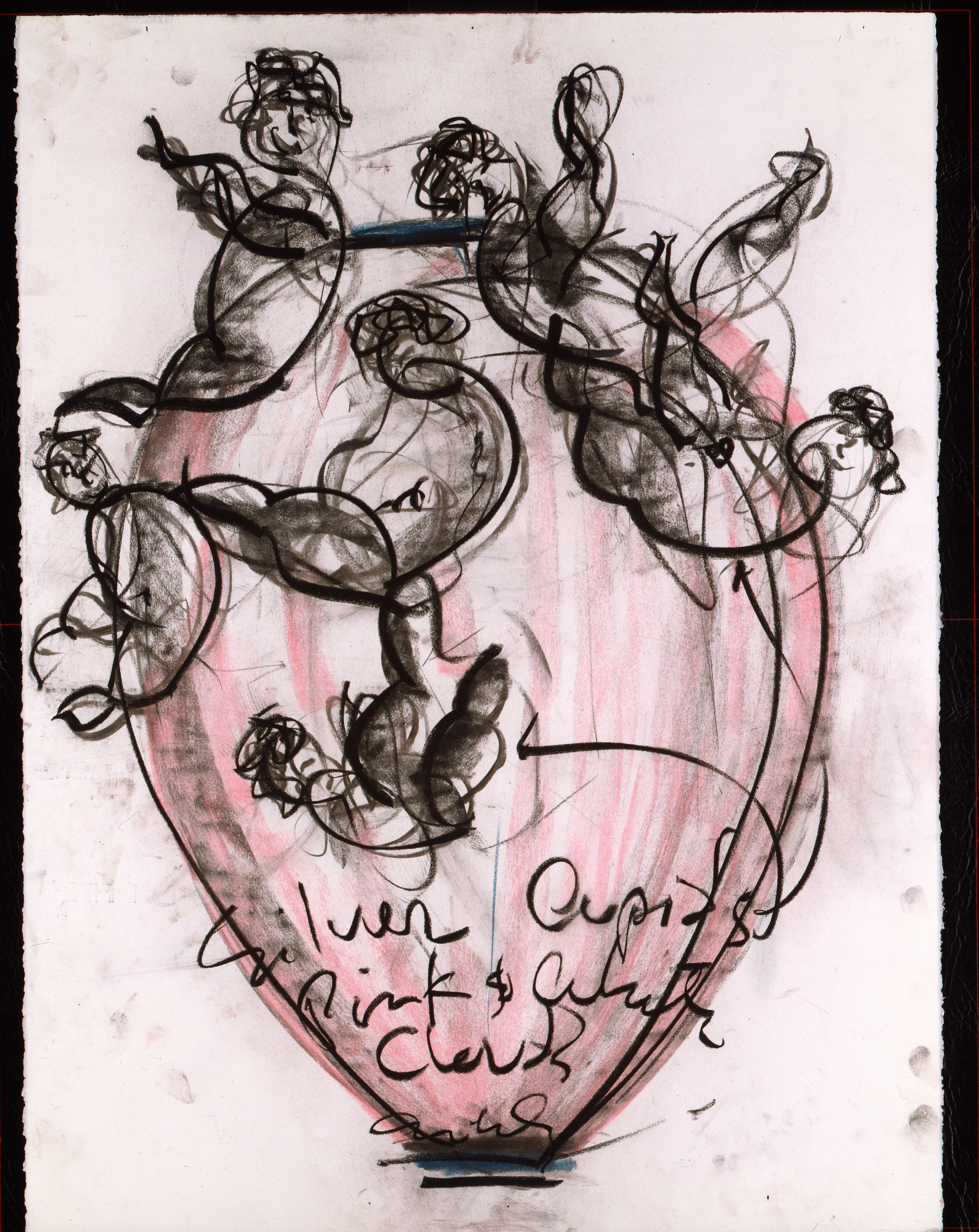 Dale Chihuly, Pink Putti Drawing, (1989, pastel and charcoal on paper, 30 x 22 inches), DC.361