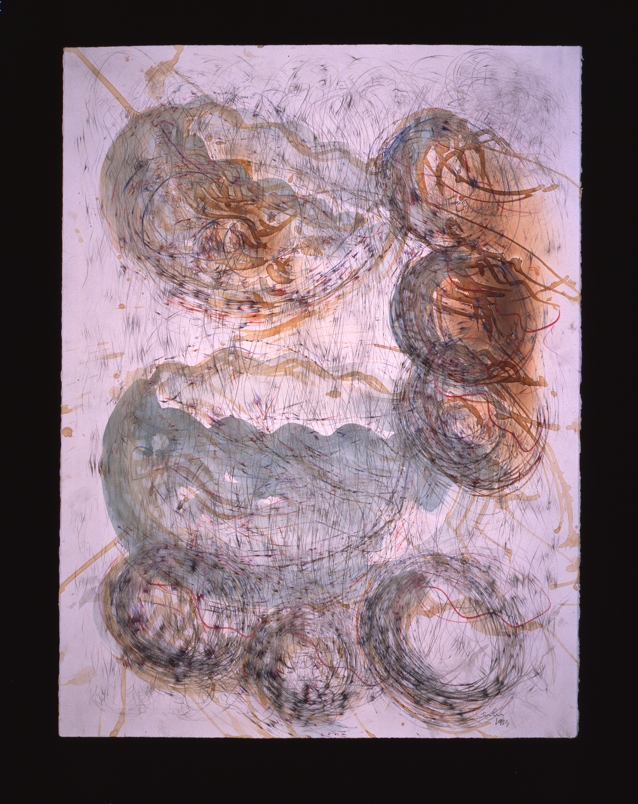 Dale Chihuly, Basket Drawing (1983, watercolor, graphite, ink colored pencil and coffeeon paper, 30 x 22 inches), DC.366