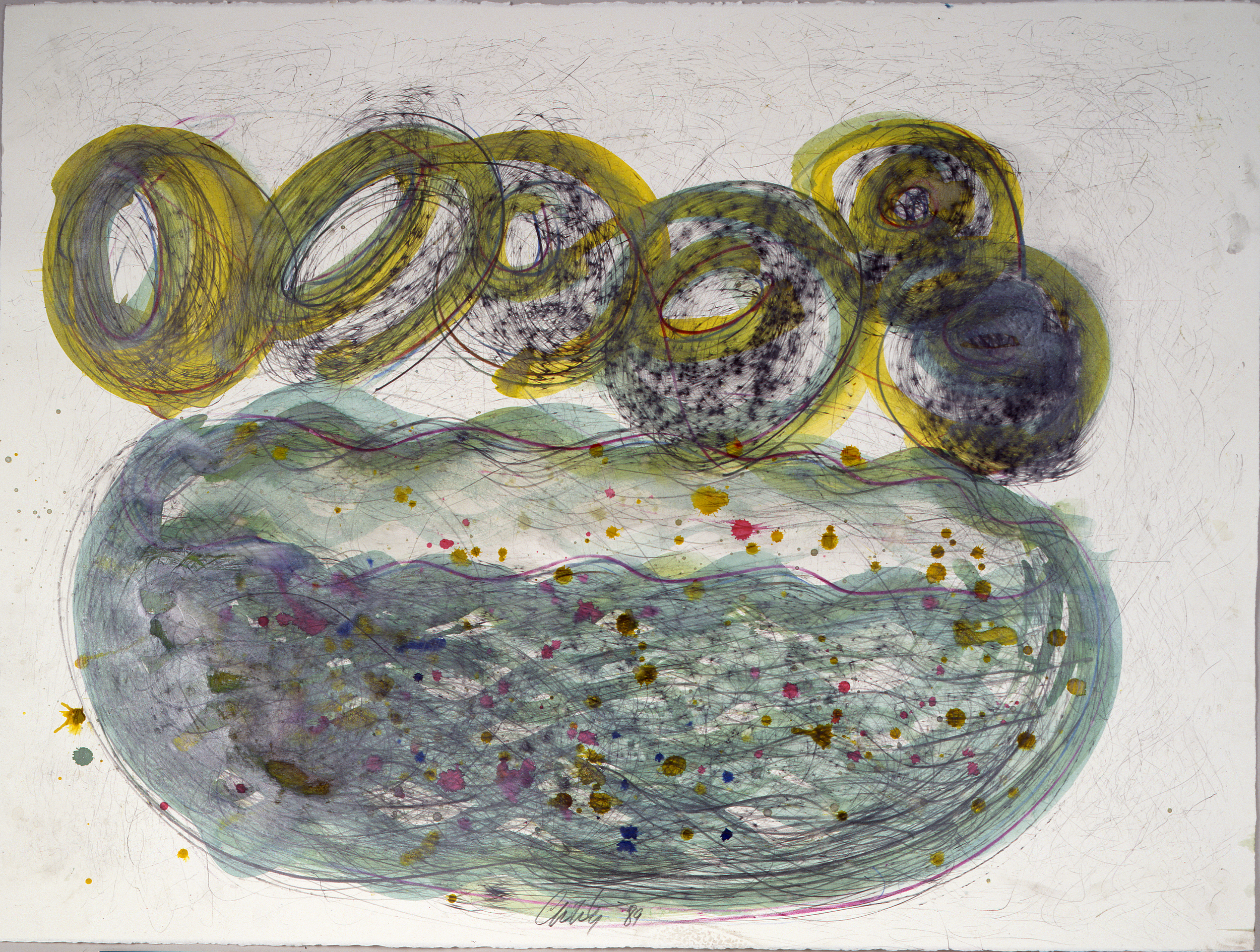 Dale Chihuly, Niijima Drawing #54, (1989, mixed mediaon paper, 22 x 30 inches), DC.374
