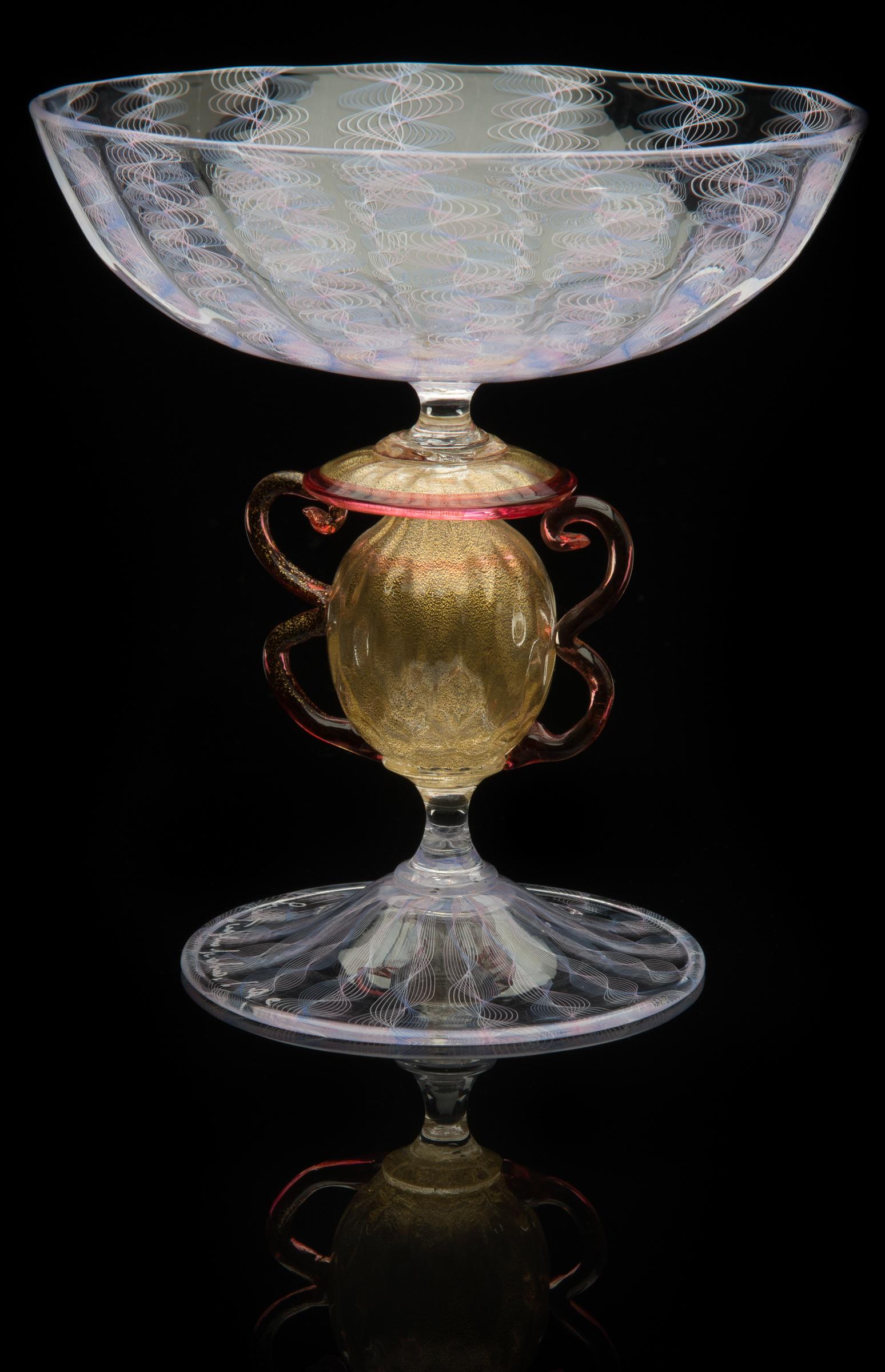 Lino Tagliapietra,  Amphoriskos-stem  Goblet (1991-1994, glass and gold leaf, 5 3/8 x 5 1/4 x 5 1/4inches), LT.27