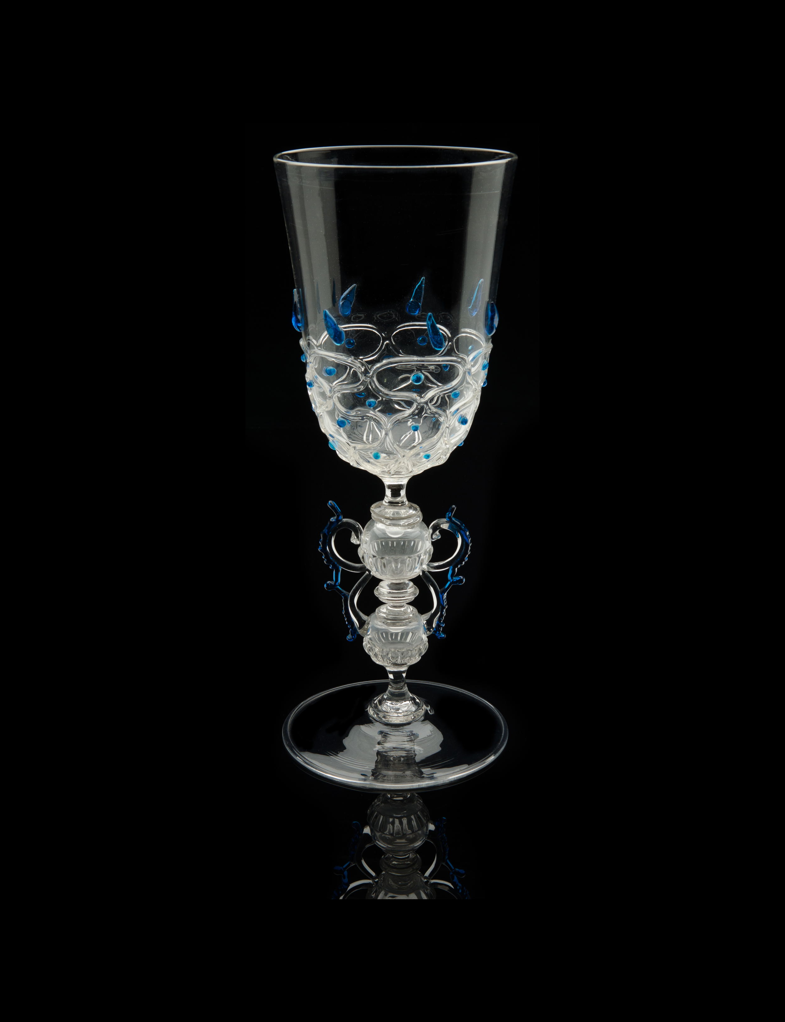 Salviati and Company, Winged Presentation Vase with Cobalt Prunts (circa 1900, glass, 14 1/2 x 5 3/8 x 5 3/8inches), VV.93