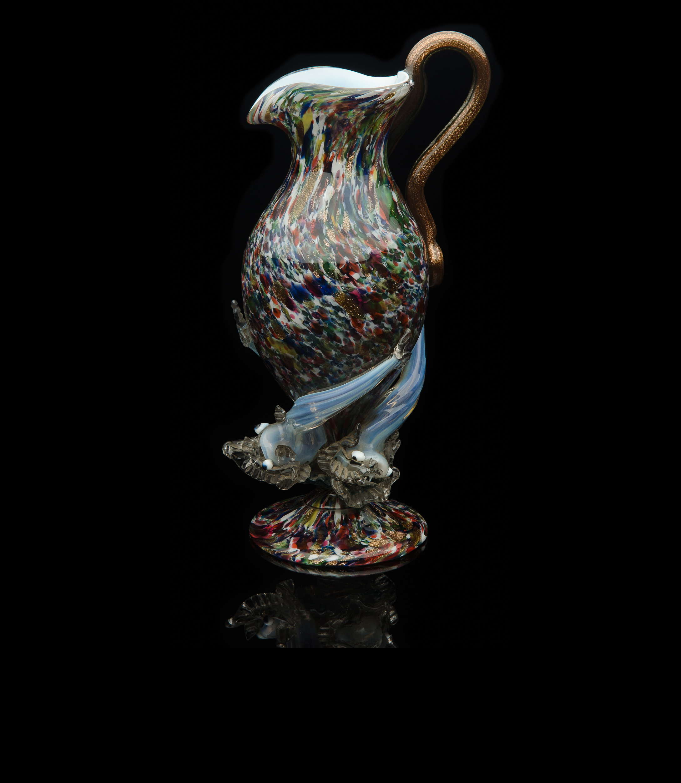 Salviati and Company, Multi-colored Pitcher with Serpent Handle and Three Opal Dolphins (circa 1875, glass), VV.207