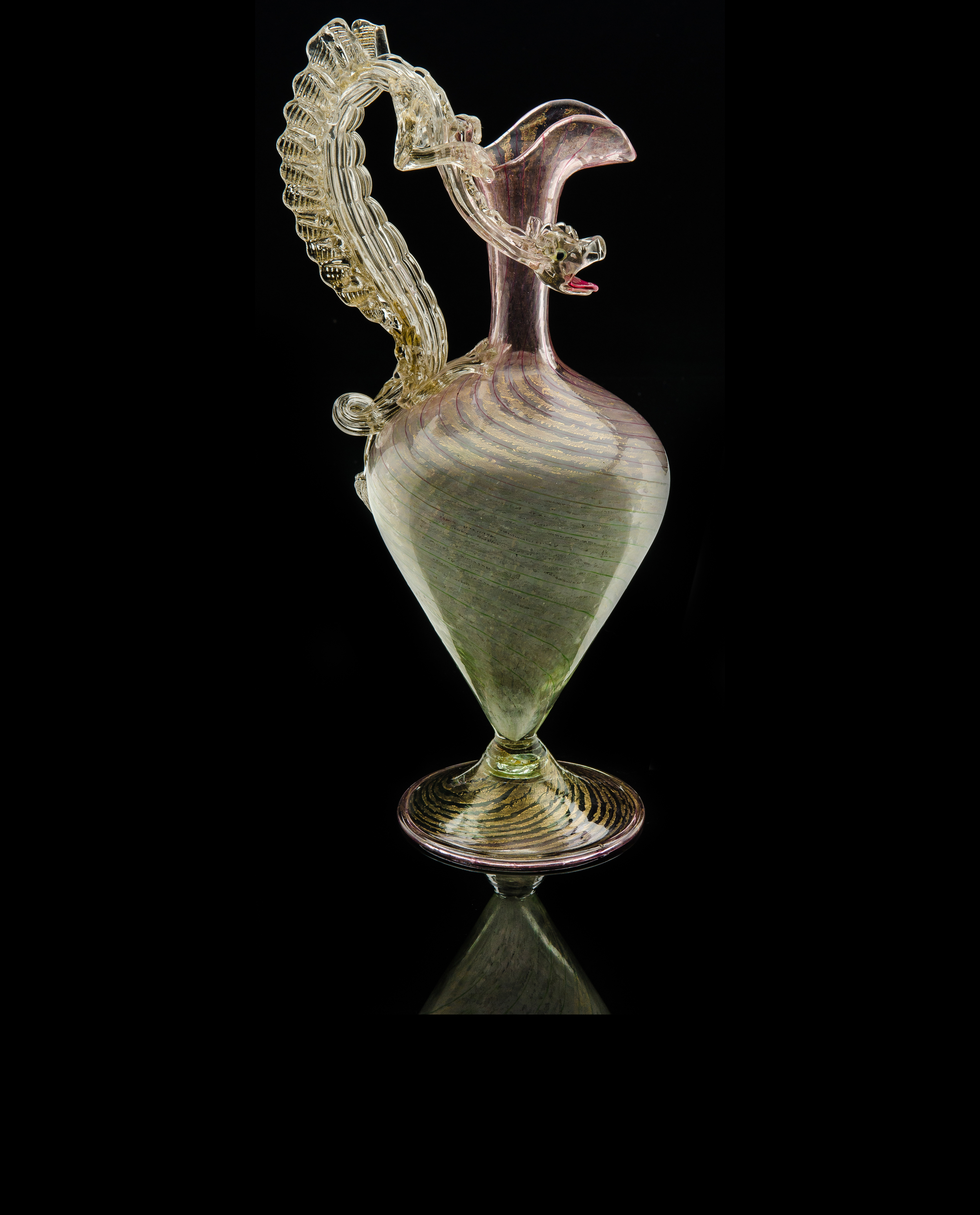 Salviati and Company, Pink and Green Pitcher with Dragon Handle (circa 1890, glass), VV.268