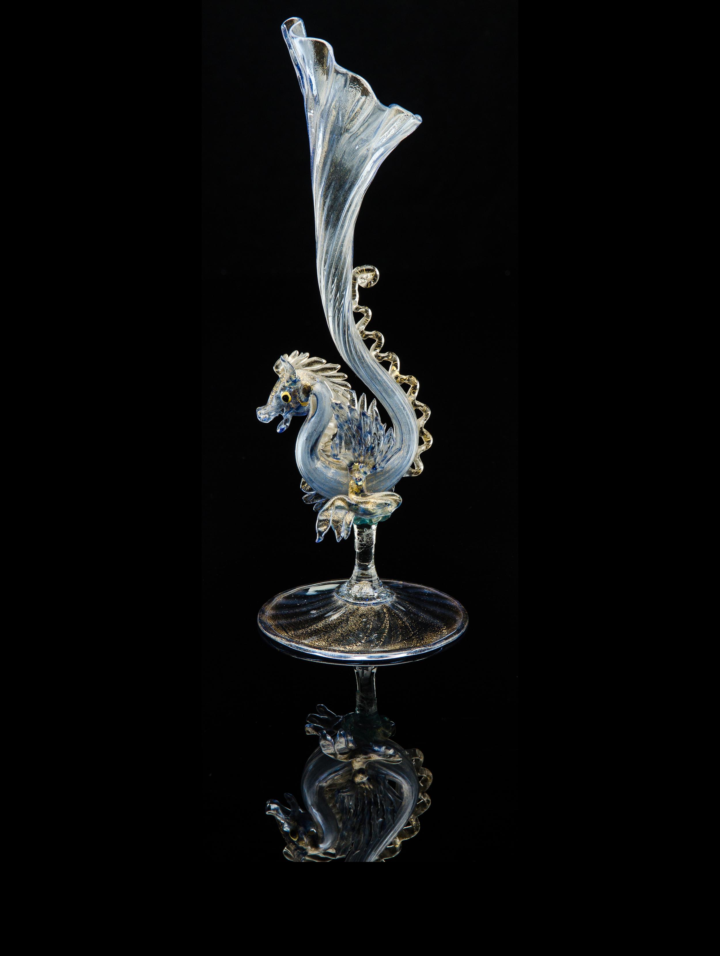 Salviati and Company, Blue Phoenix Form Bud Vase (glass, 11inches), VV.342