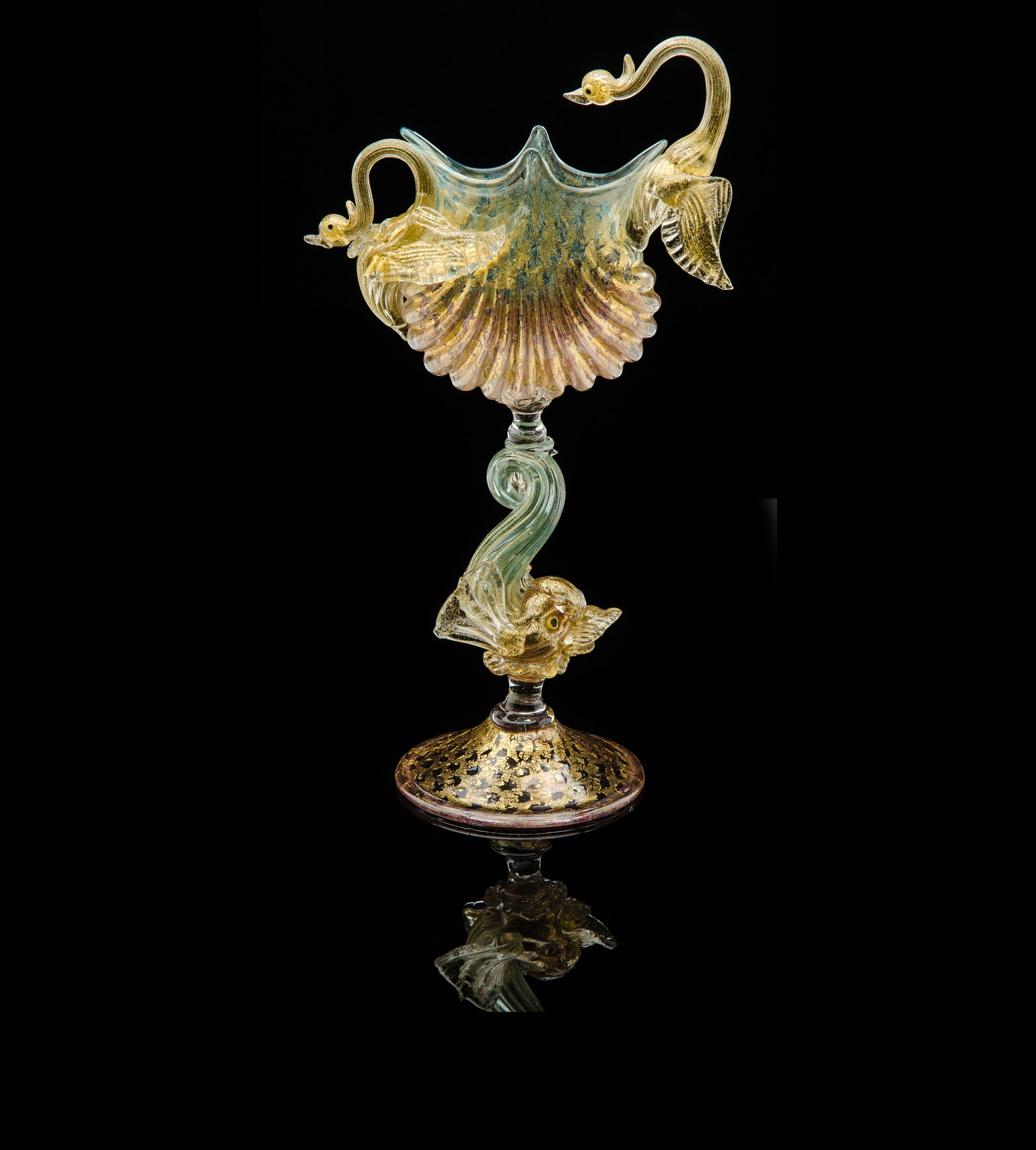 Salviati and Company, Multi-colored Compote with Two Birds and Dolphin Stem (glass, 11 inches), VV.344