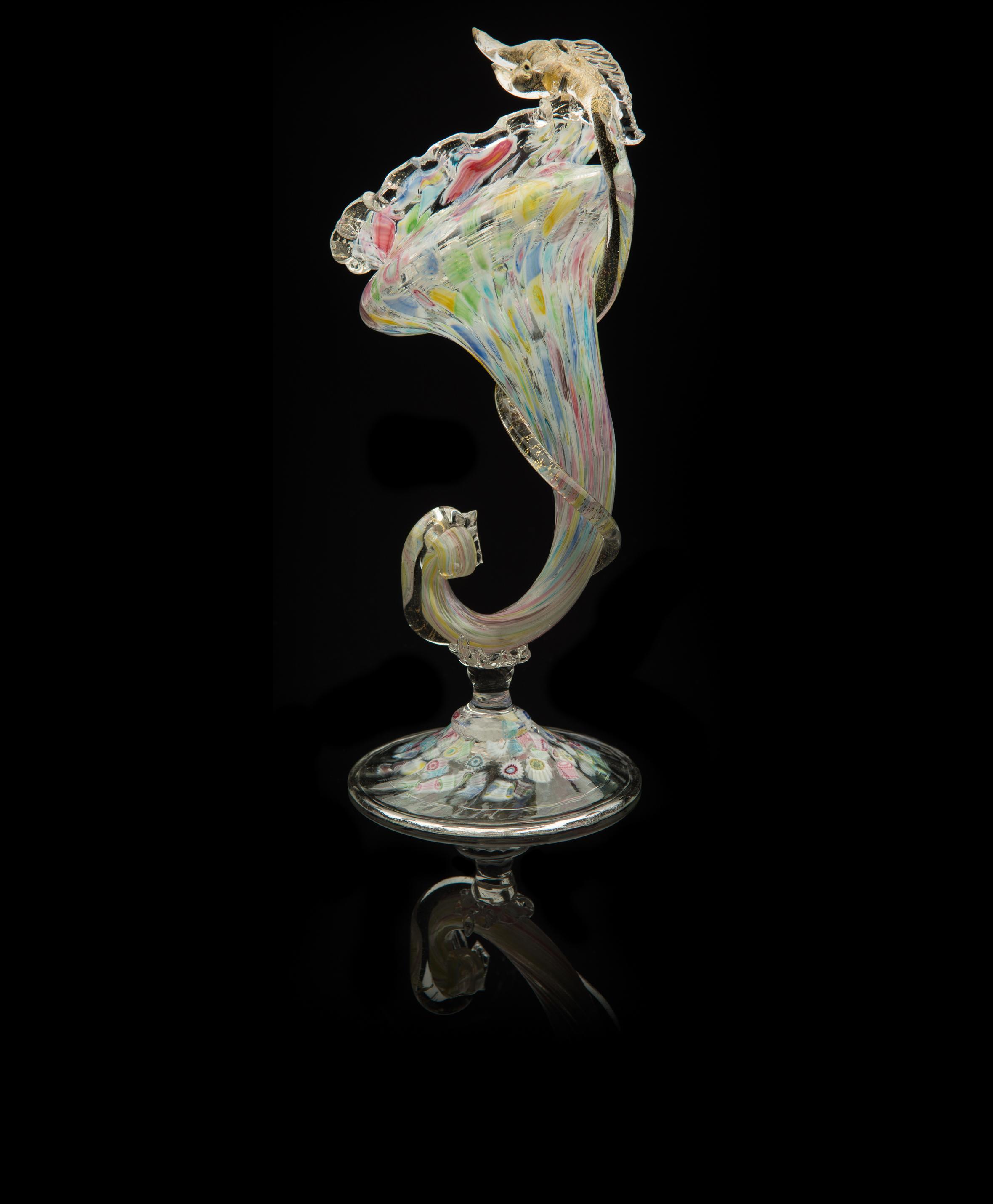 Salviati and Company, Multicolored Fish Snout Cornucopia   (glass), VV.435