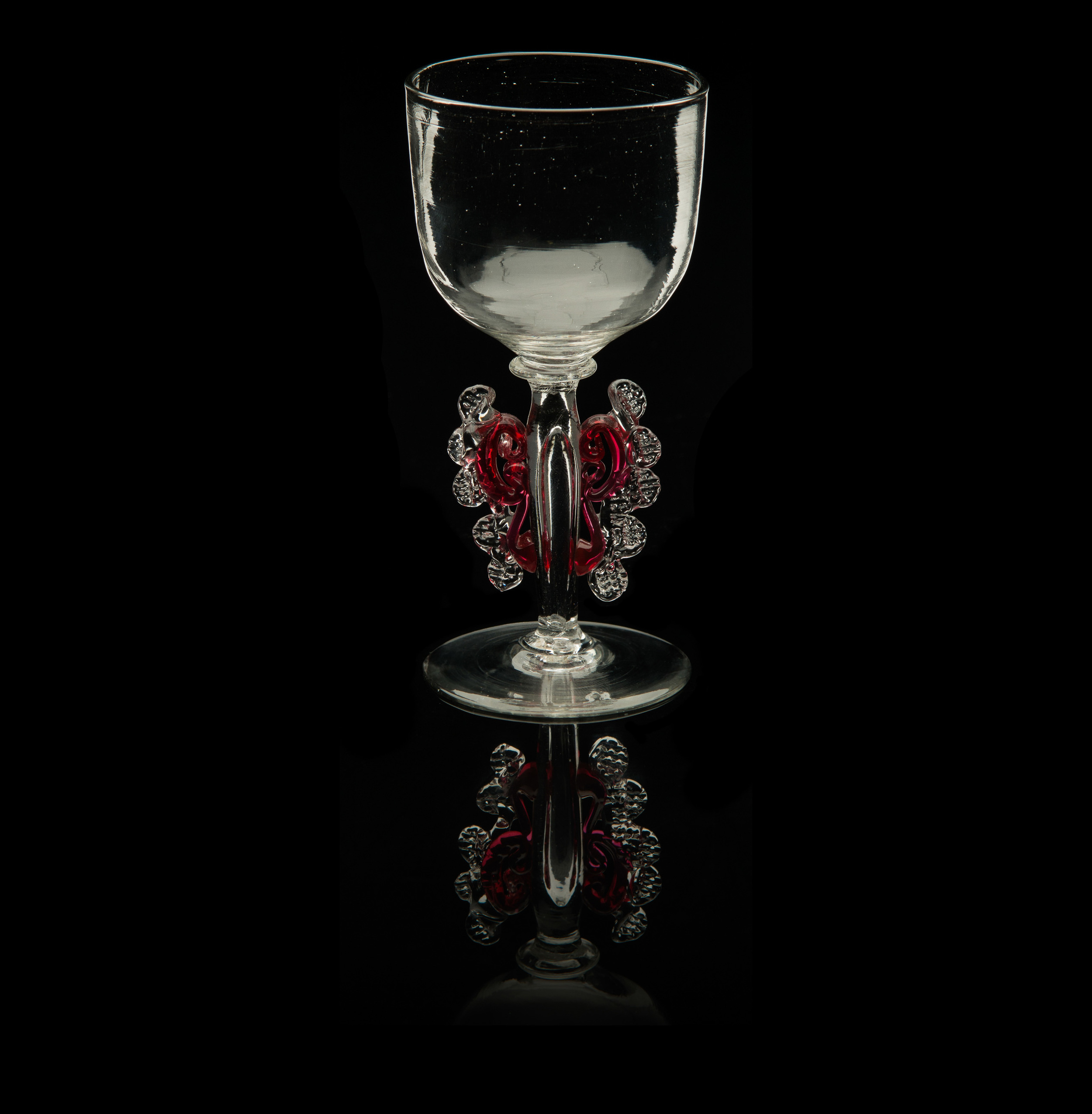 Unknown Venetian, Goblet with Rubyand Crystal Morise Decoration on Stem (17th-18th centuries,glass, 4 5/16 inches), VV.612