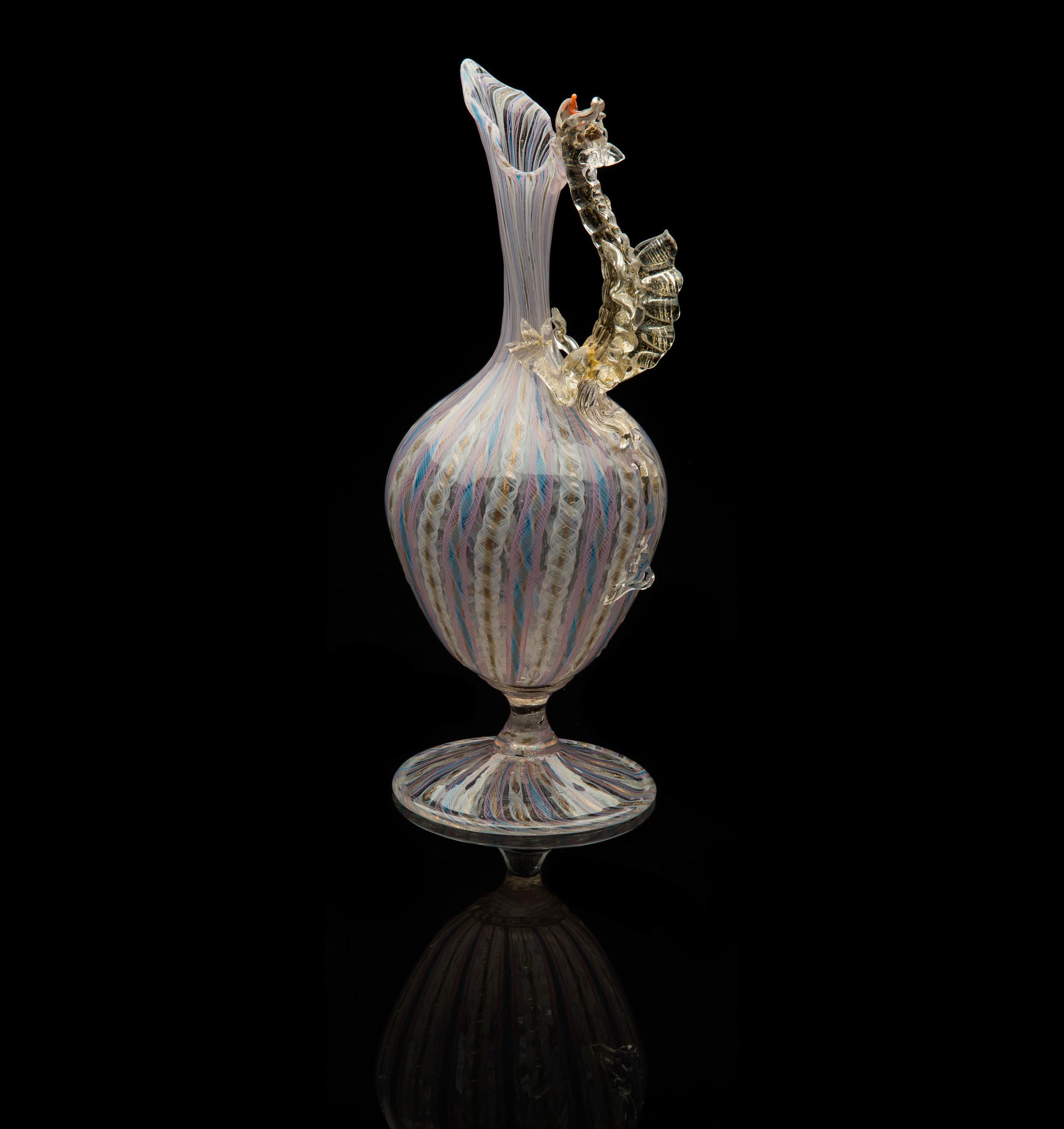 Salviati and Company, Dragon Handle Ewer (circa 1885, glass, 9 1/4 inches), VV.577