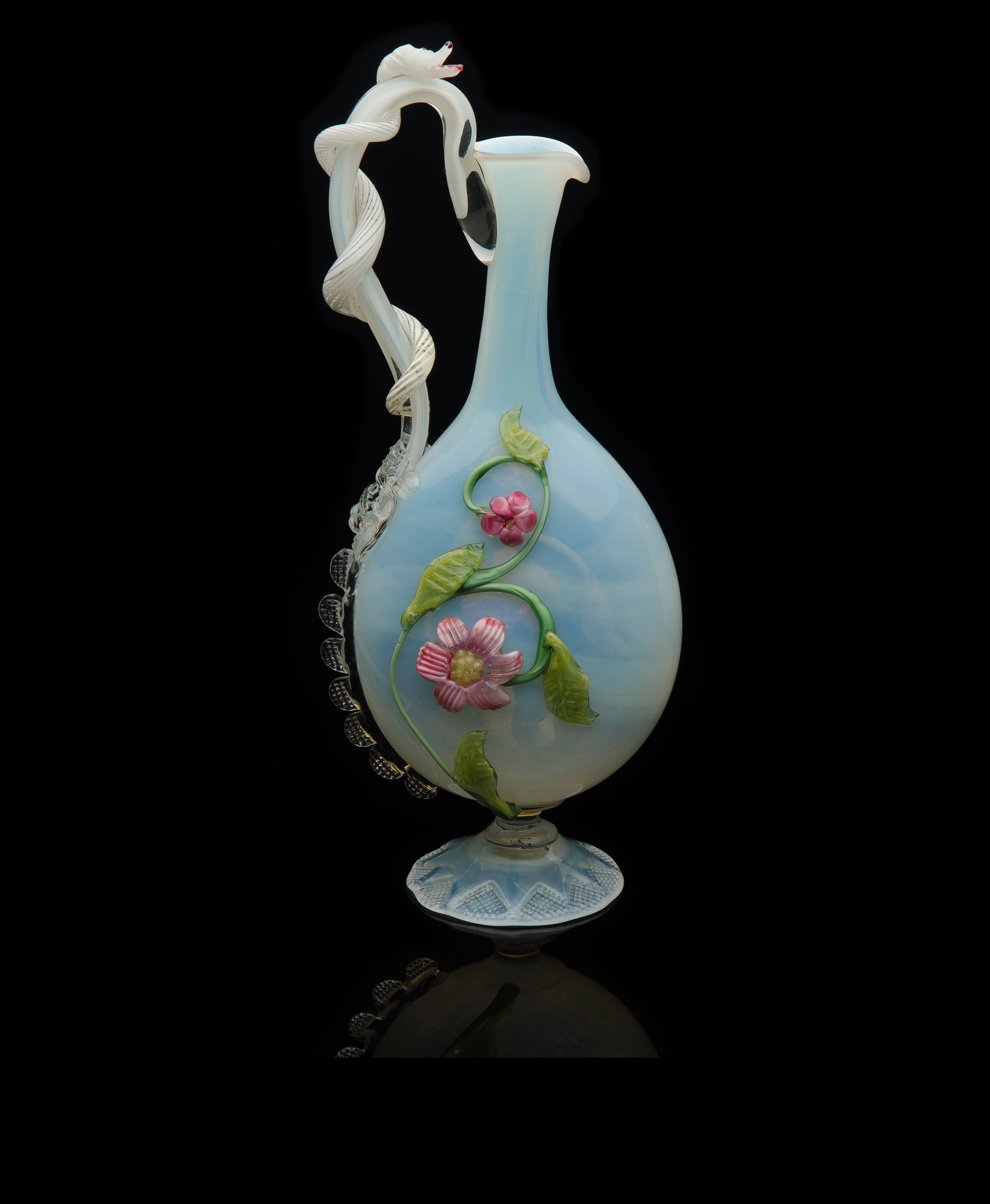 Salviati and Company, White Opal Ewer with Sea Serpent Handle and Applied Flowers (glass), VV.294