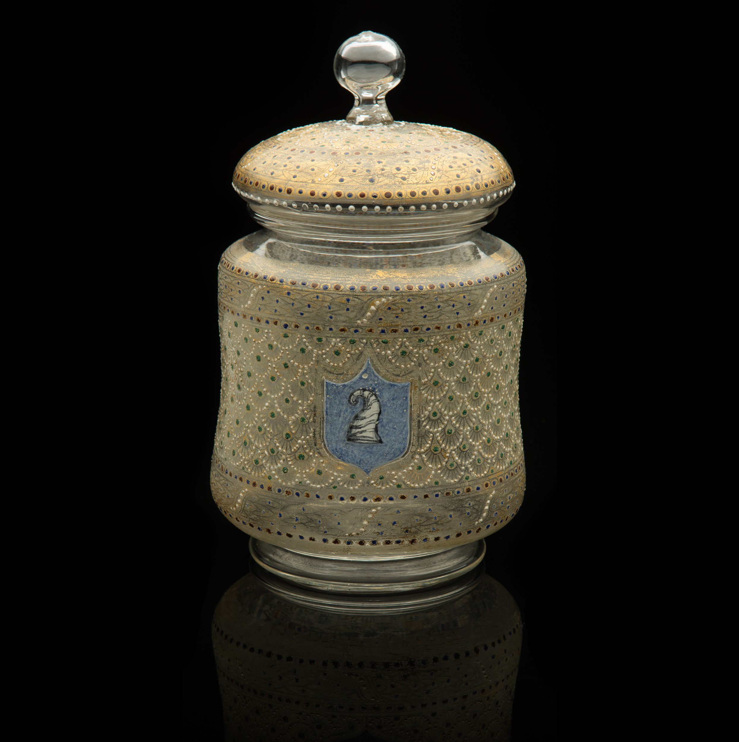 Salviati and Company, Lidded Jar with Doge Cap Emblem (circa 1885, glass and gilding, 8 3/4 x 5 x 5inches), VV.481